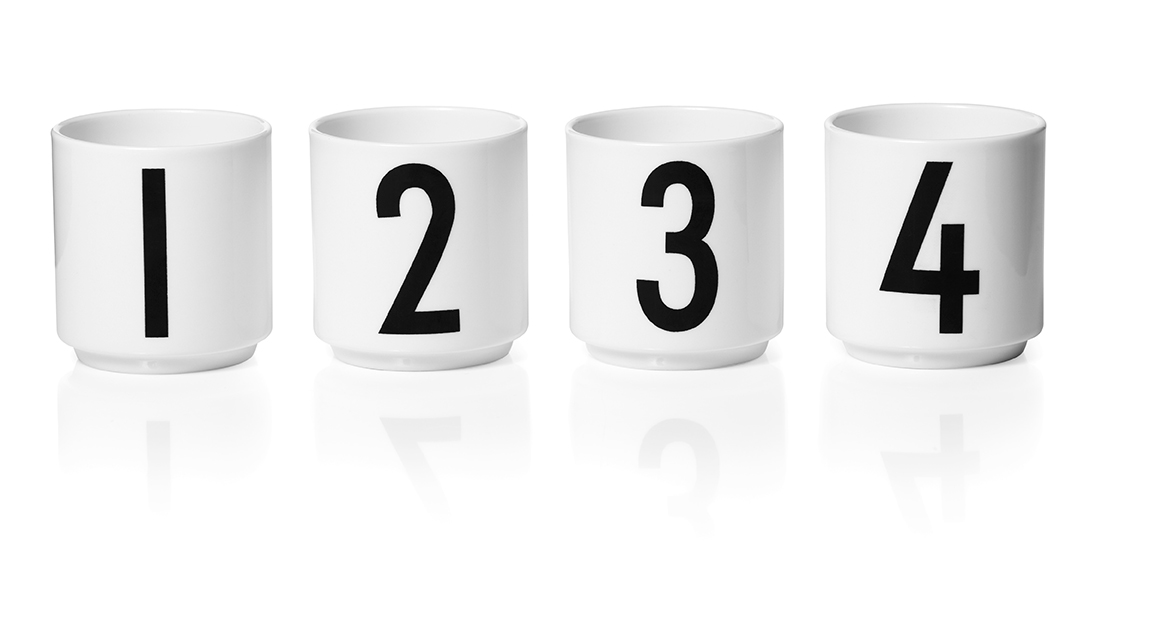 Design Letters Espressomugg Vit 4-st 1,2,3,4