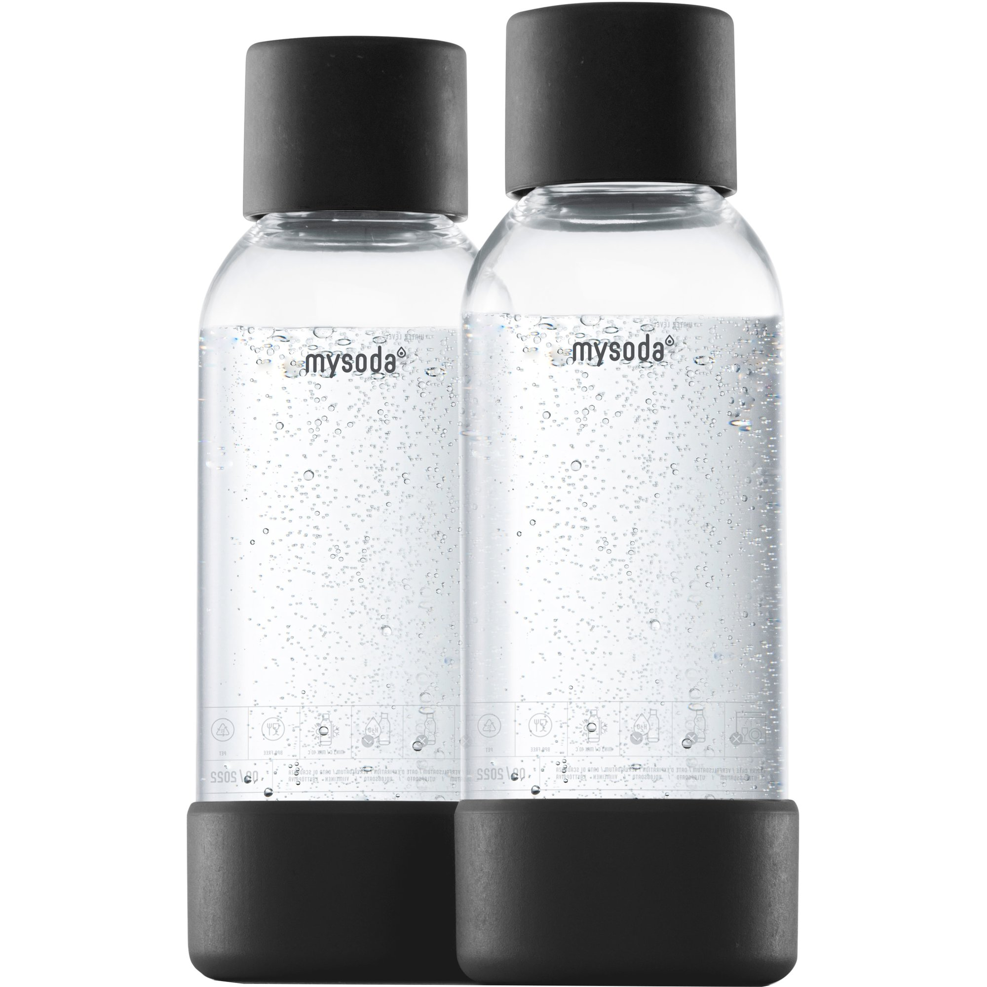 MySoda Vattenflaska 05 liter 2 st. Svart