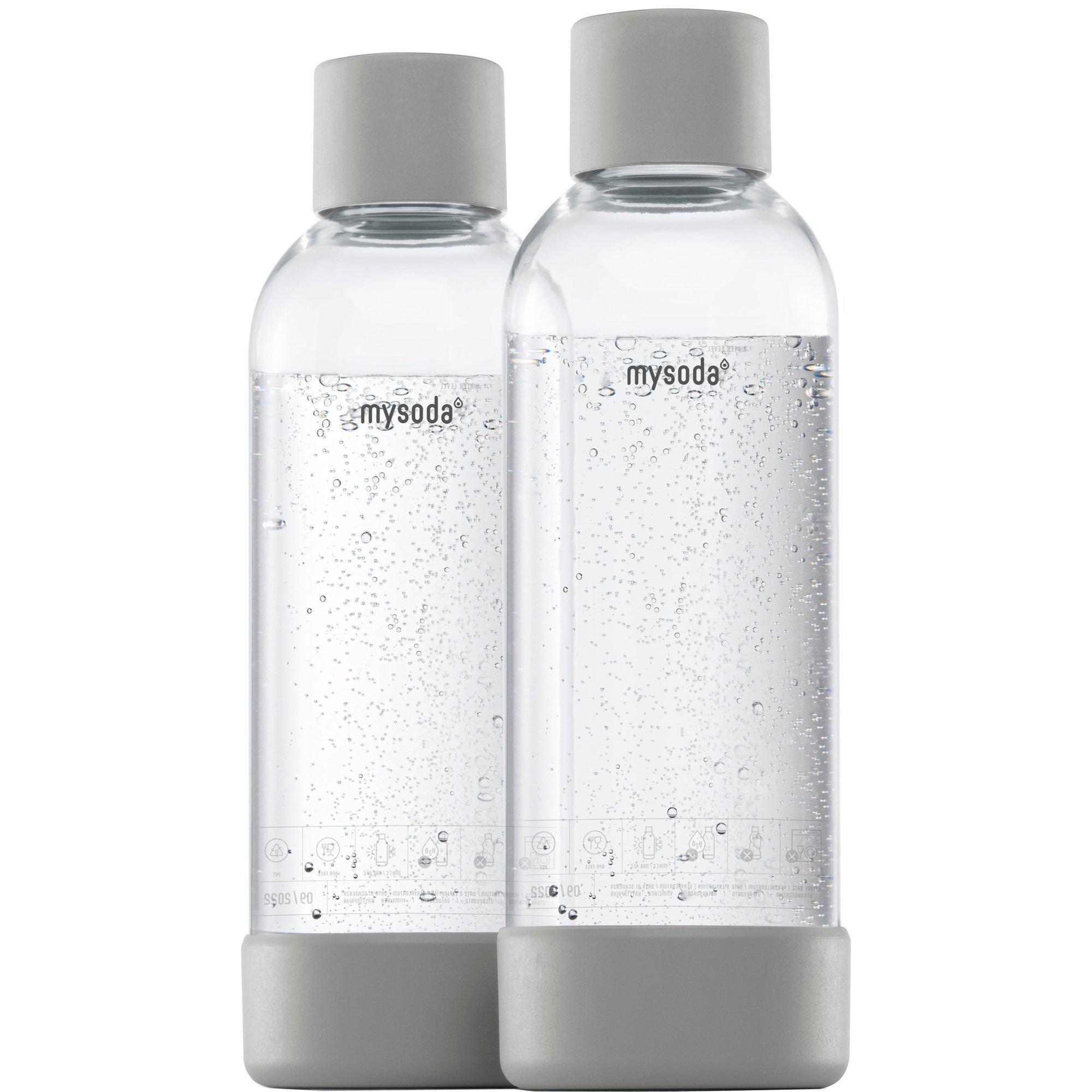 MySoda Vattenflaska 1 liter 2 st. Grå