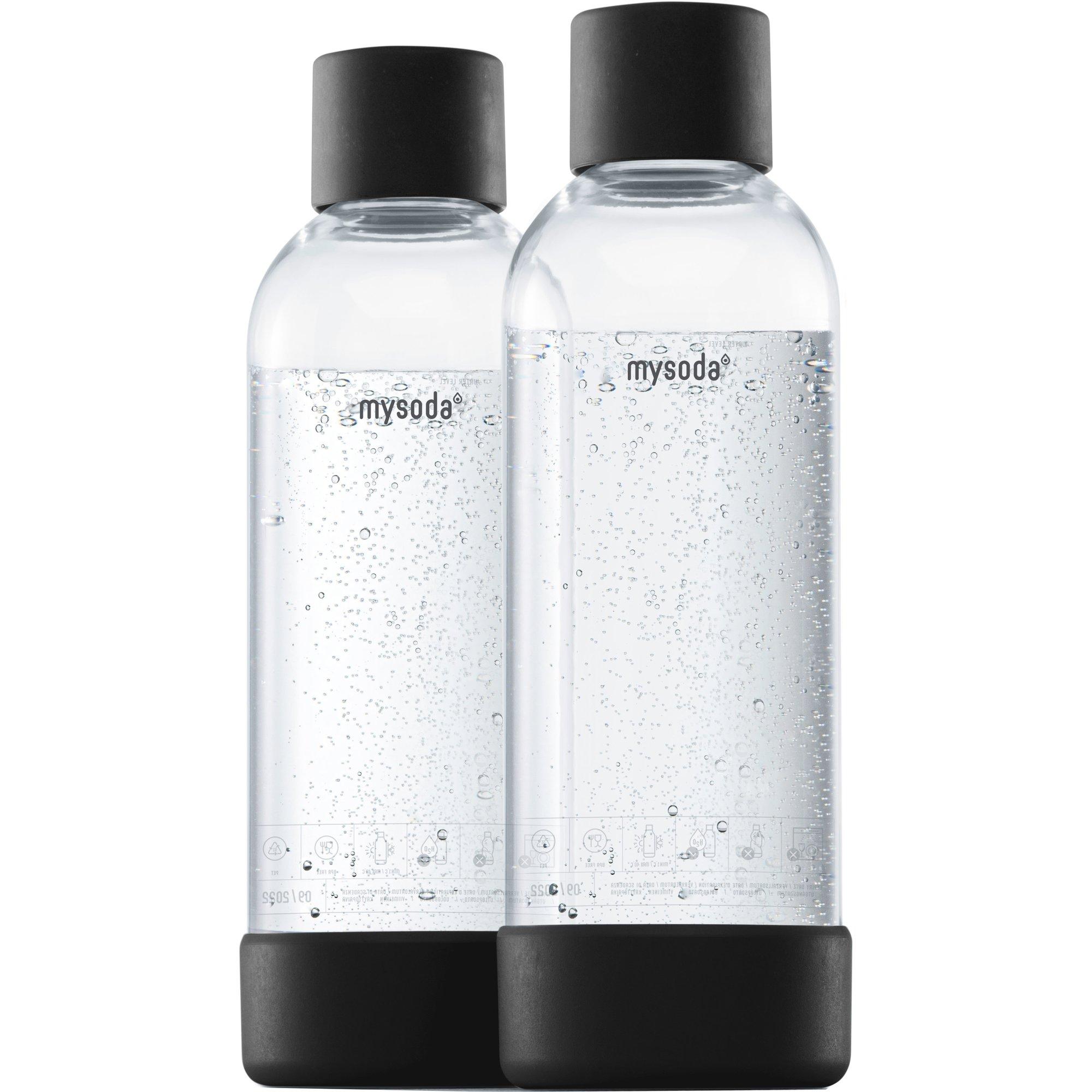 MySoda Vattenflaska 1 liter 2 st. Svart