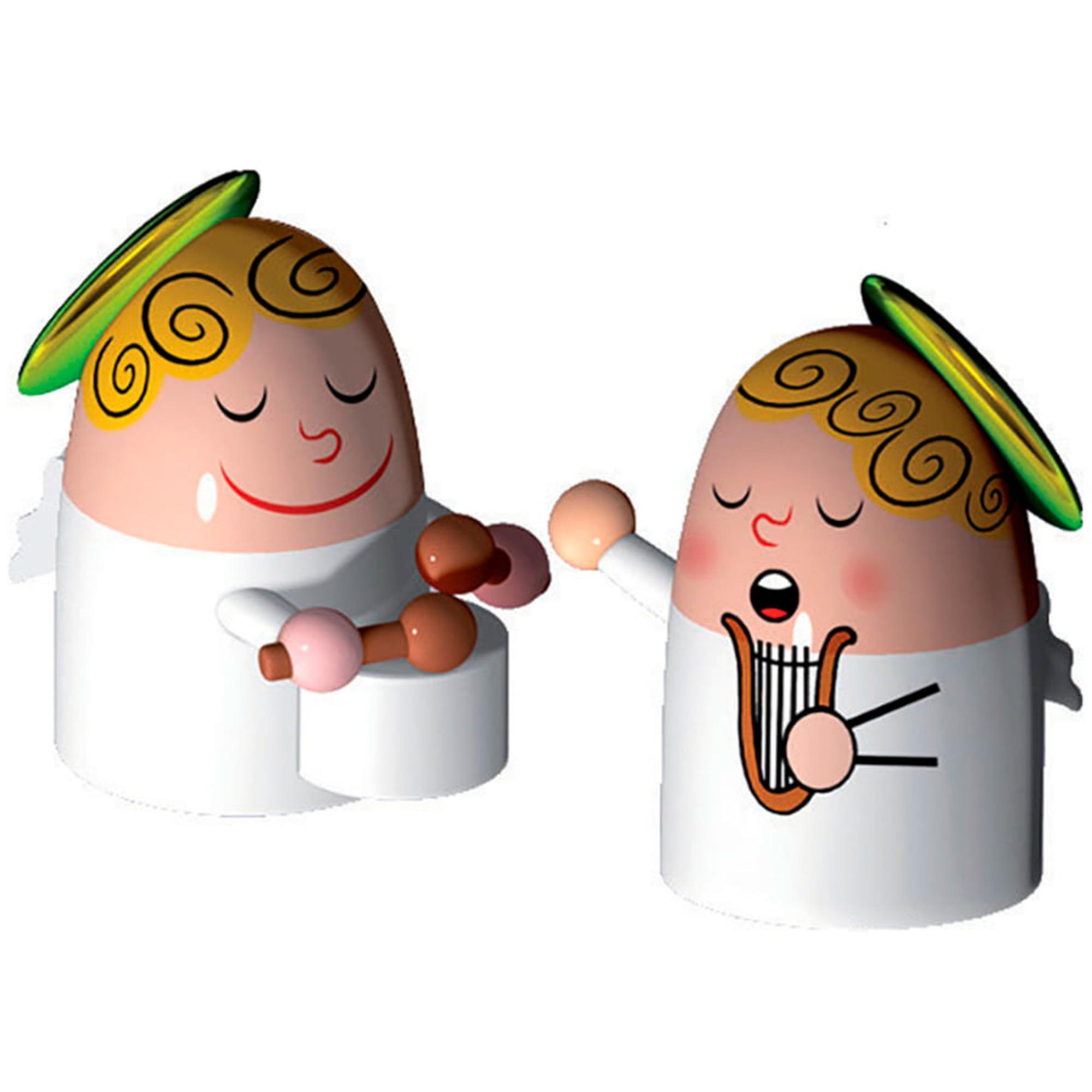 Alessi Porslinsfigurer Änglar 2 st Handmålade Harpa