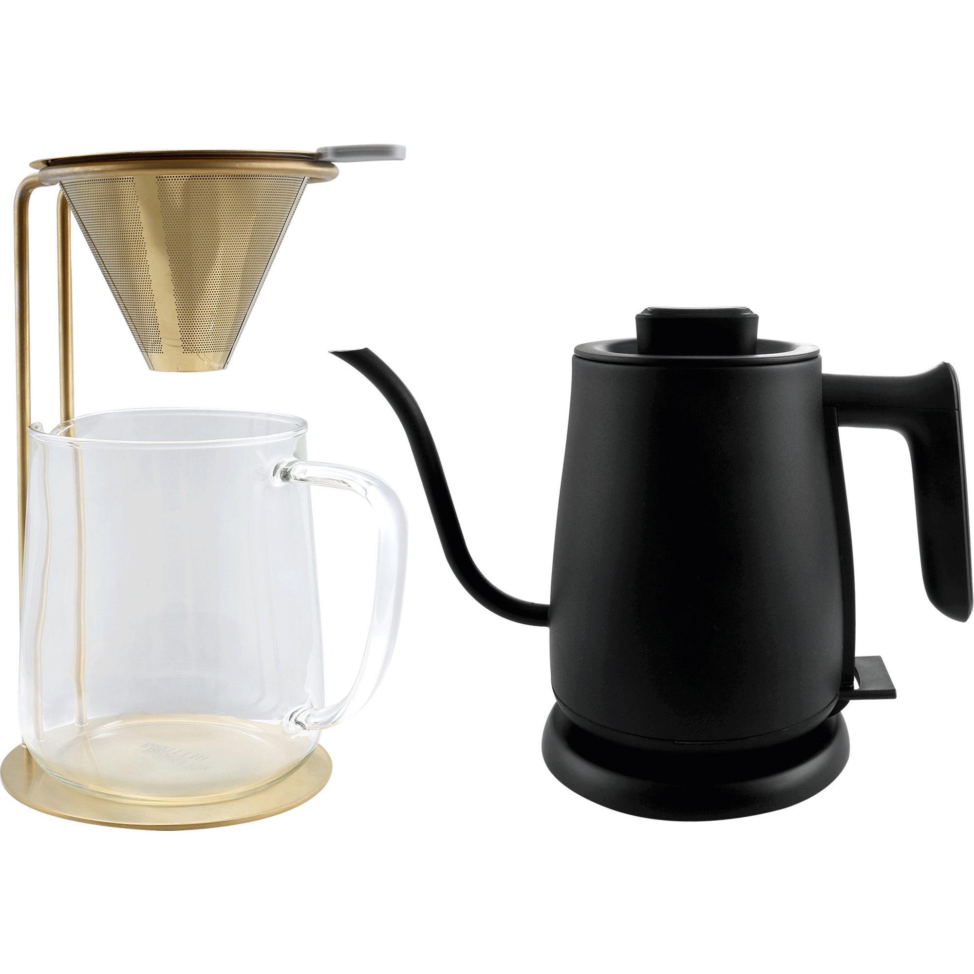 Barletta Vattenkokare + Pour Over Glaskanna med stativ