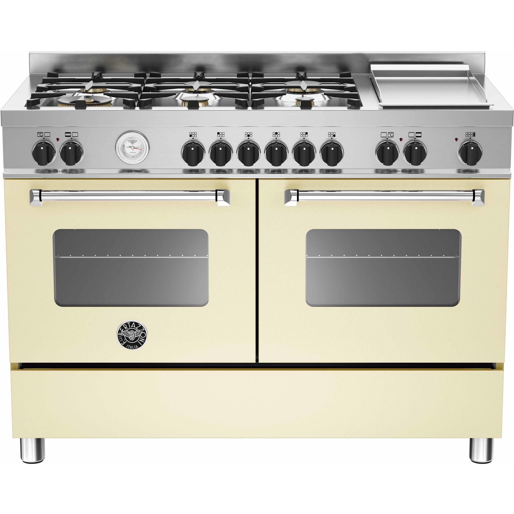 Bertazzoni MAS1206 Gasspis 120 cm 2 ugnar 6 brännare + elektrisk tepanyaki Beige