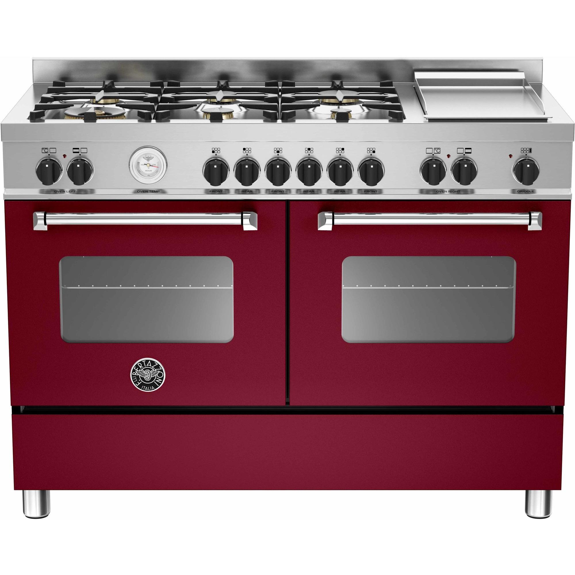 Bertazzoni MAS1206 Gasspis 120 cm 2 ugnar 6 brännare + elektrisk tepanyaki Vinröd