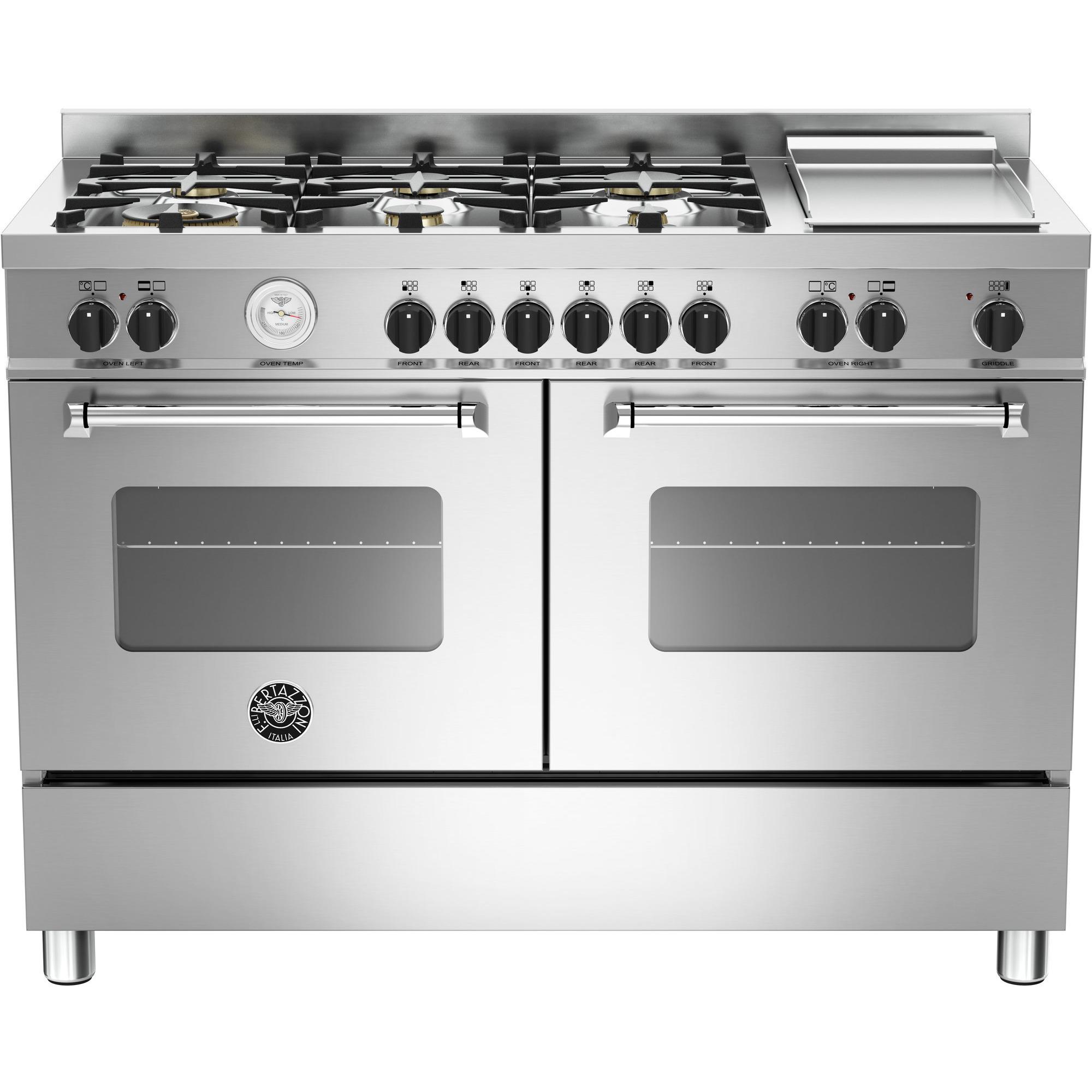 Bertazzoni MAS1206 Gasspis 120 cm 2 ugnar 6 brännare + elektrisk tepanyaki Rostfri