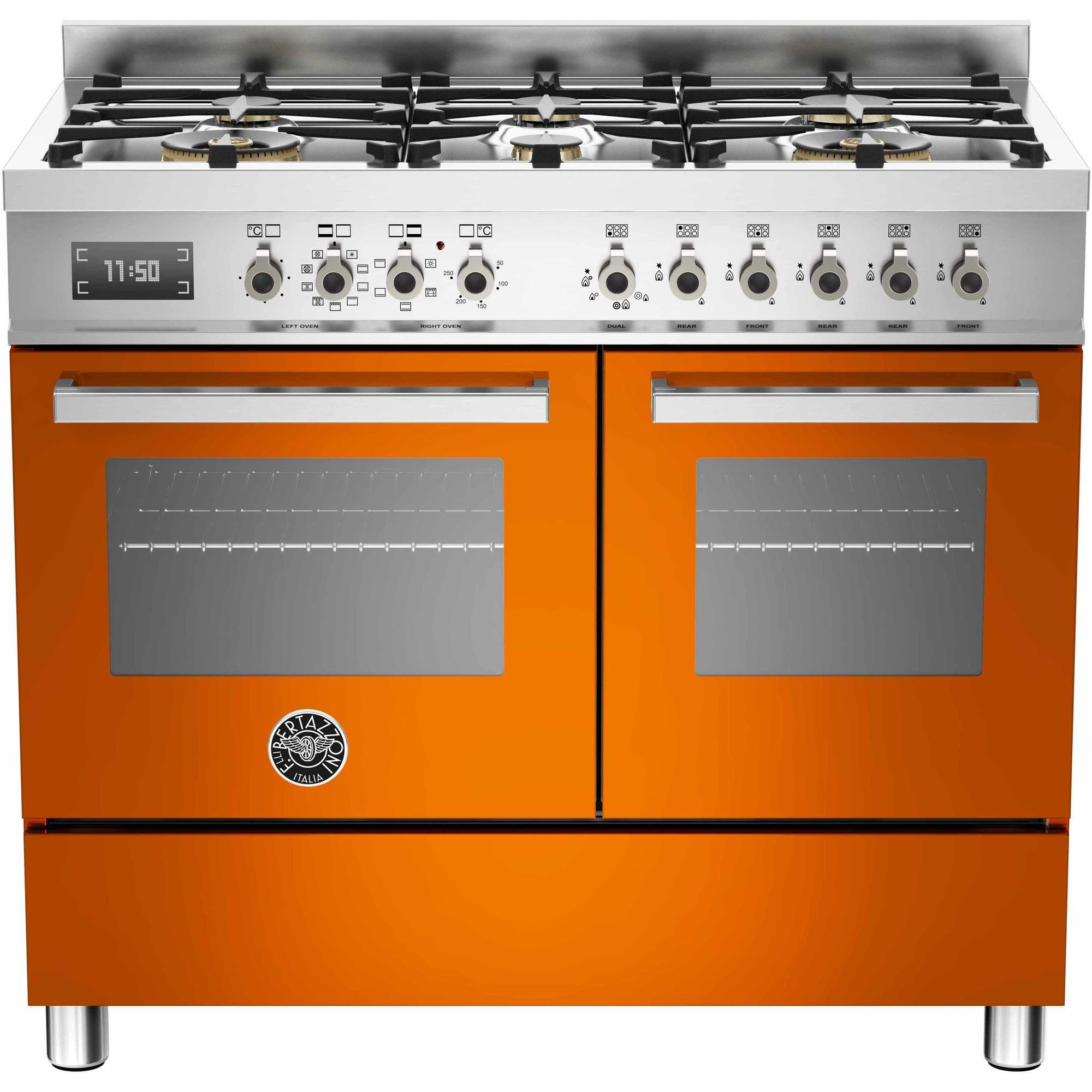 Bertazzoni PRO1006 Gasspis 100 cm 2 ugnar 6 brännare Orange
