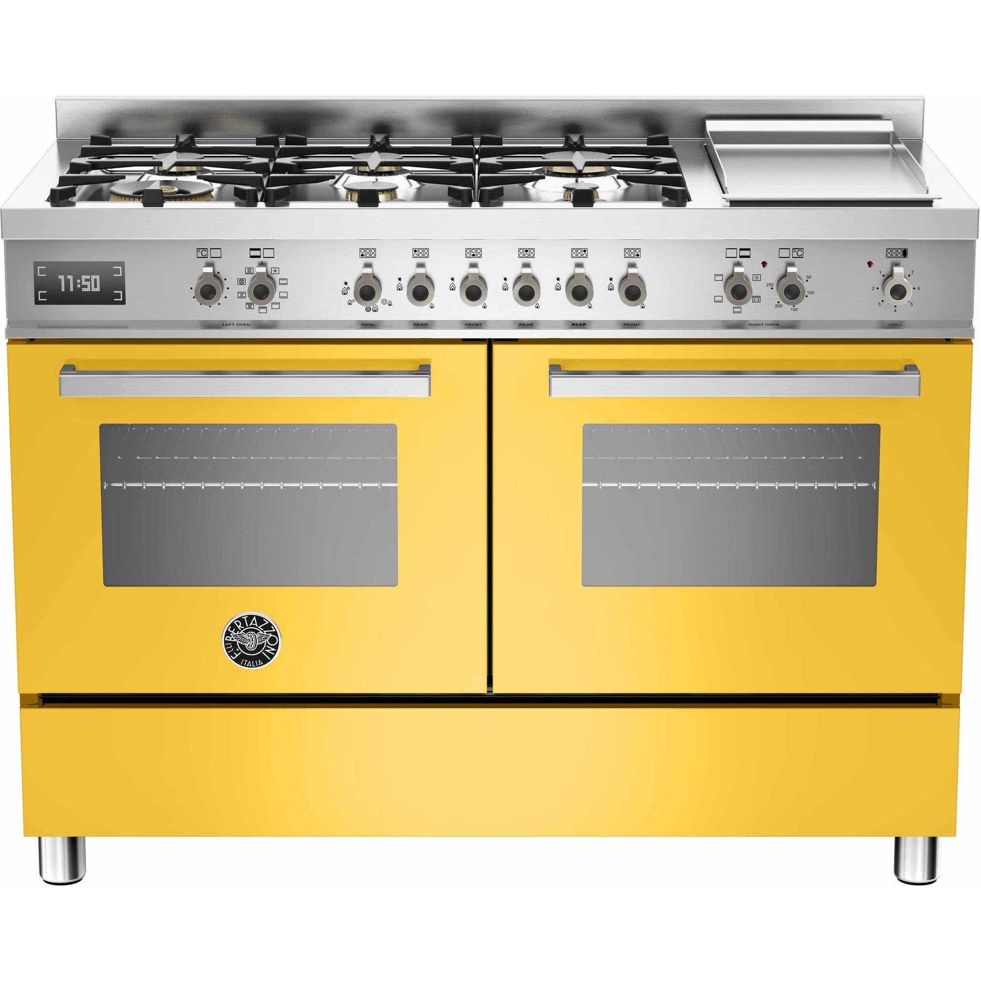 Bertazzoni PRO1206 Gasspis 120 cm 2 ugnar 6 brännare + elektrisk tepanyaki Gul