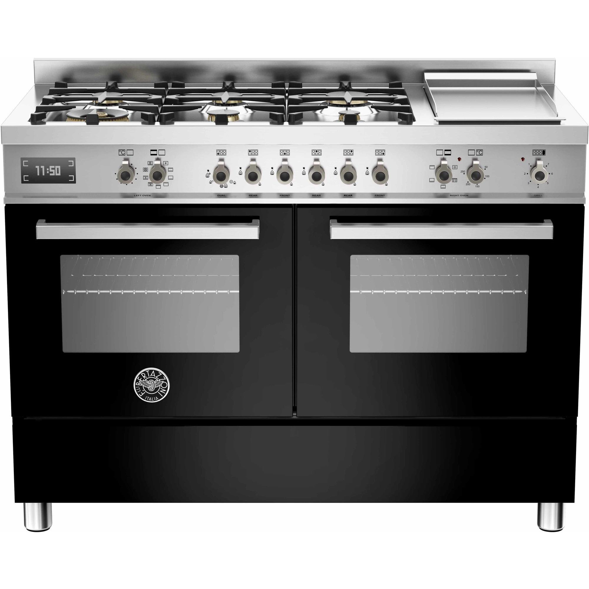 Bertazzoni PRO1206 Gasspis 120 cm 2 ugnar 6 brännare + elektrisk tepanyaki svart