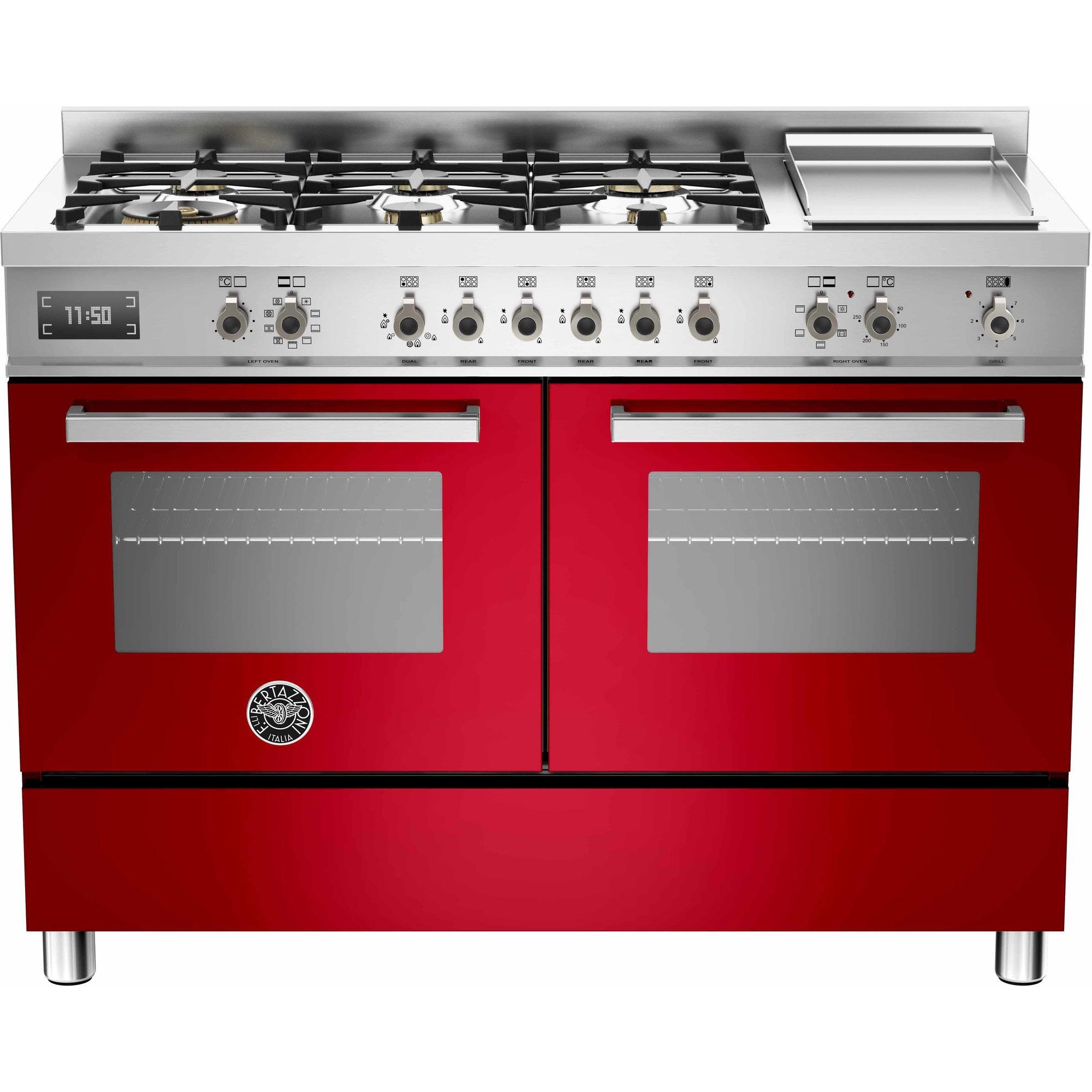 Bertazzoni PRO1206 Gasspis 120 cm 2 ugnar 6 brännare + elektrisk tepanyaki röd
