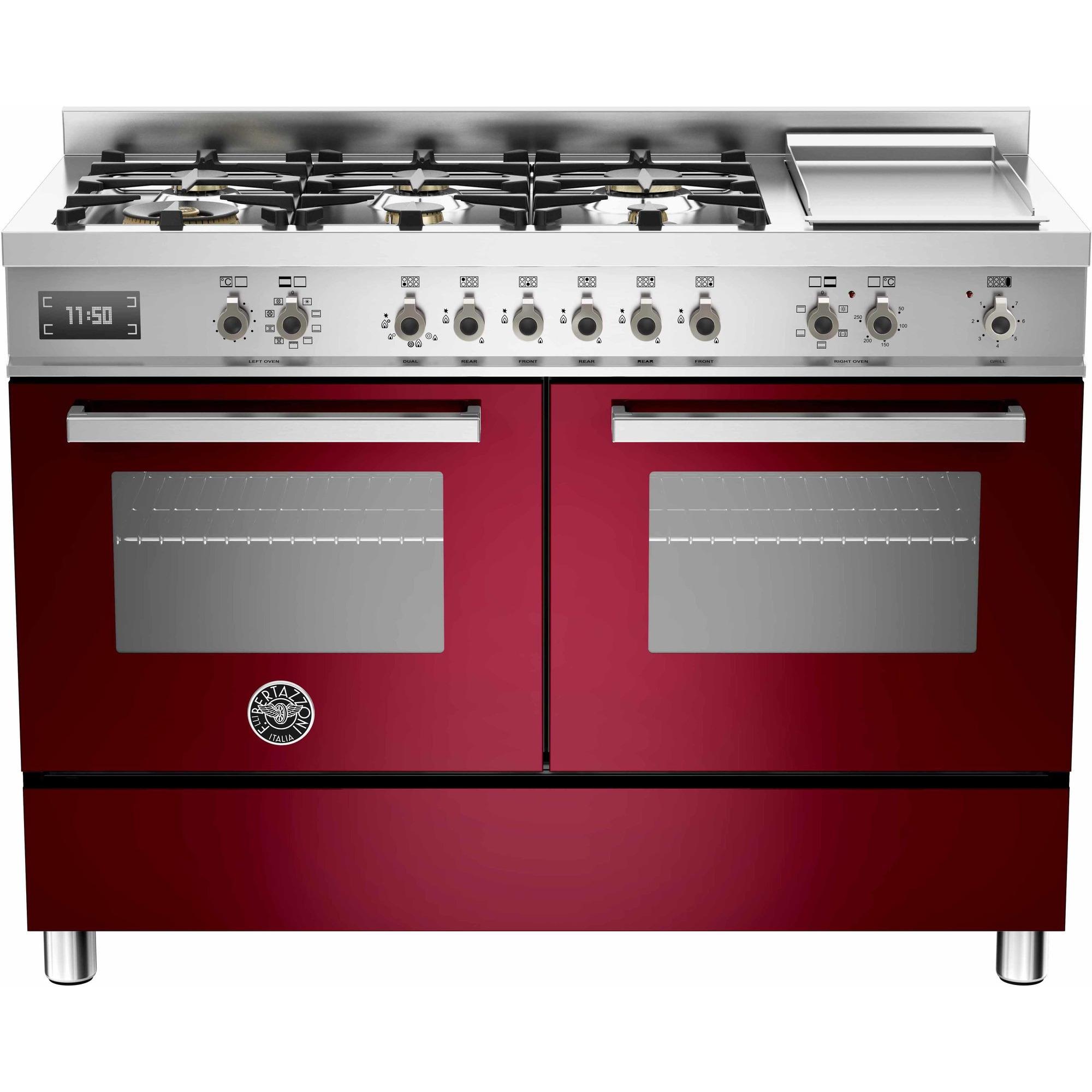 Bertazzoni PRO1206 Gasspis 120 cm 2 ugnar 6 brännare + elektrisk tepanyaki vinröd