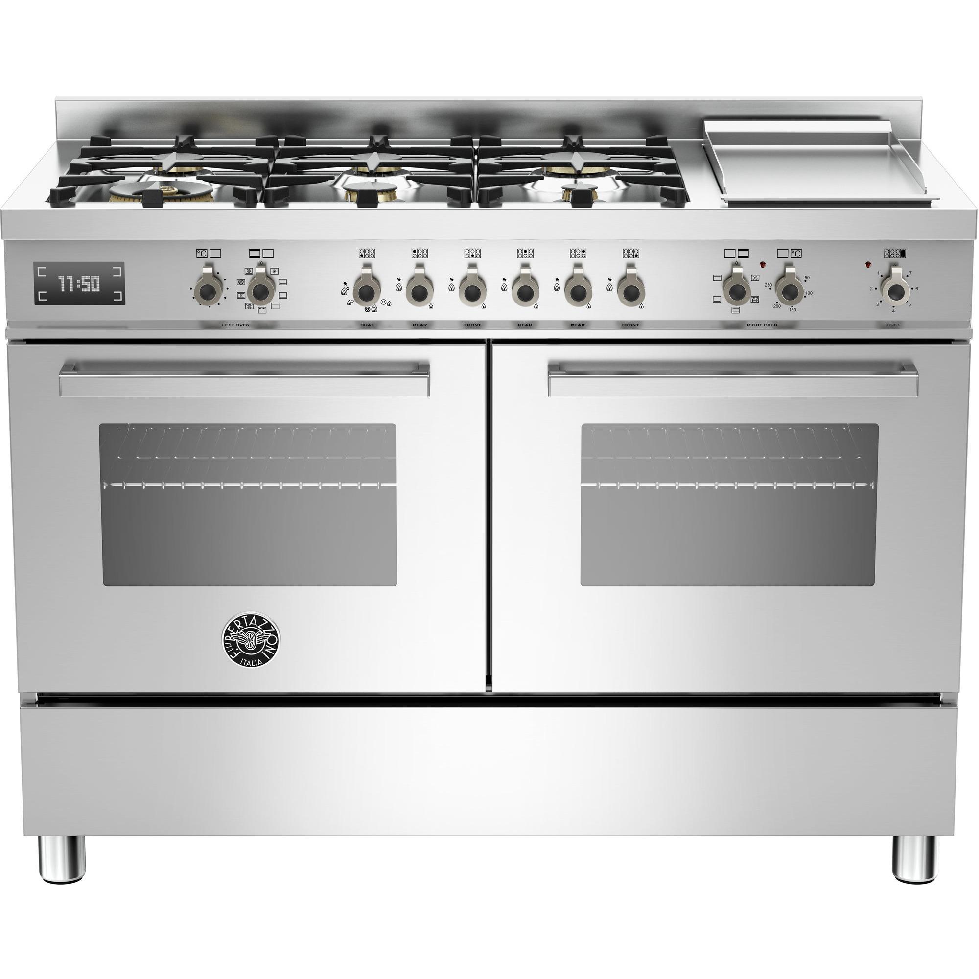 Bertazzoni PRO1206 Gasspis 120 cm 2 ugnar 6 brännare + elektrisk tepanyaki rostfri