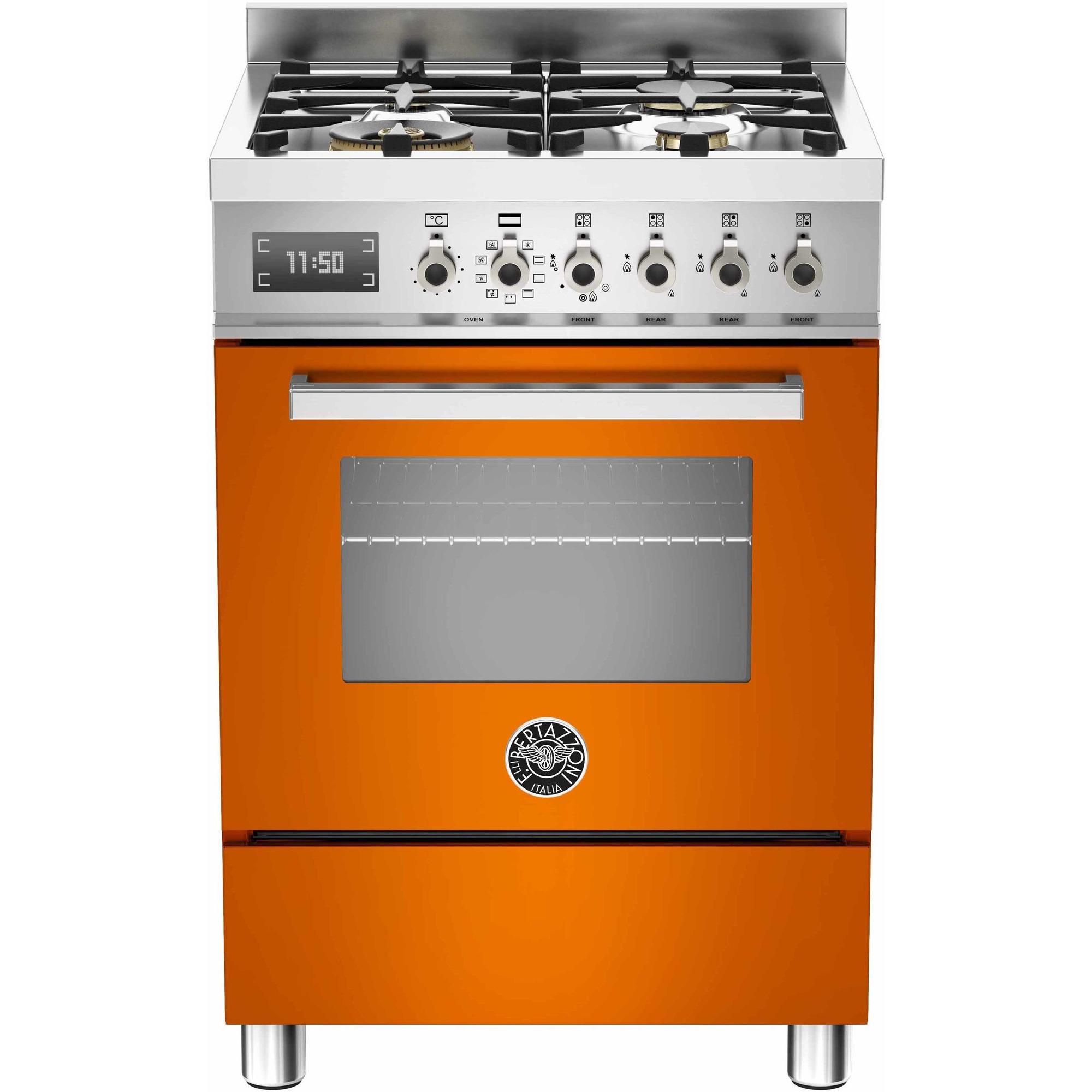 Bertazzoni PRO604 Gasspis 60 cm 1 ugn 4 brännare orange
