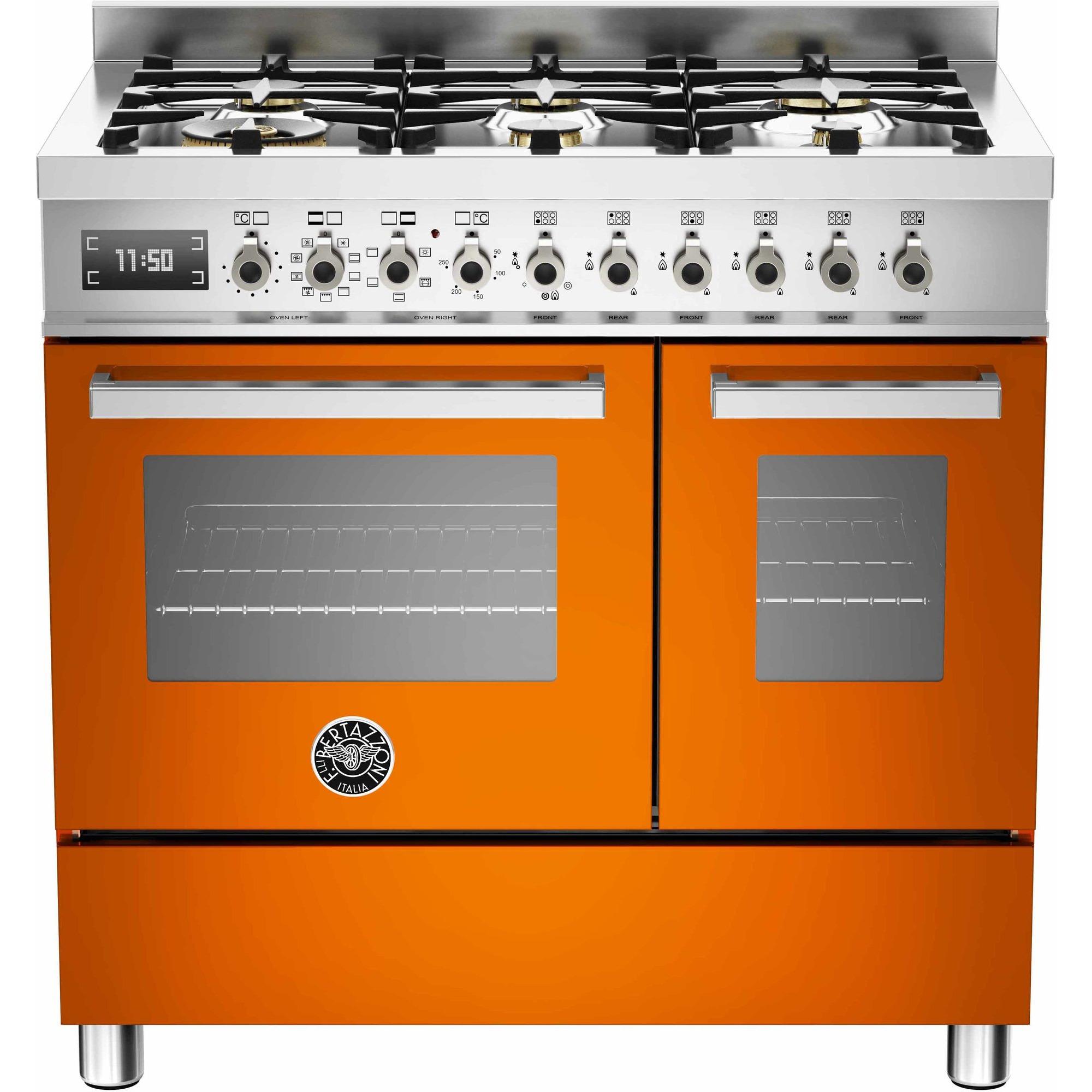 Bertazzoni PRO906 Gasspis 90 cm 2 ugnar 6 brännare Orange