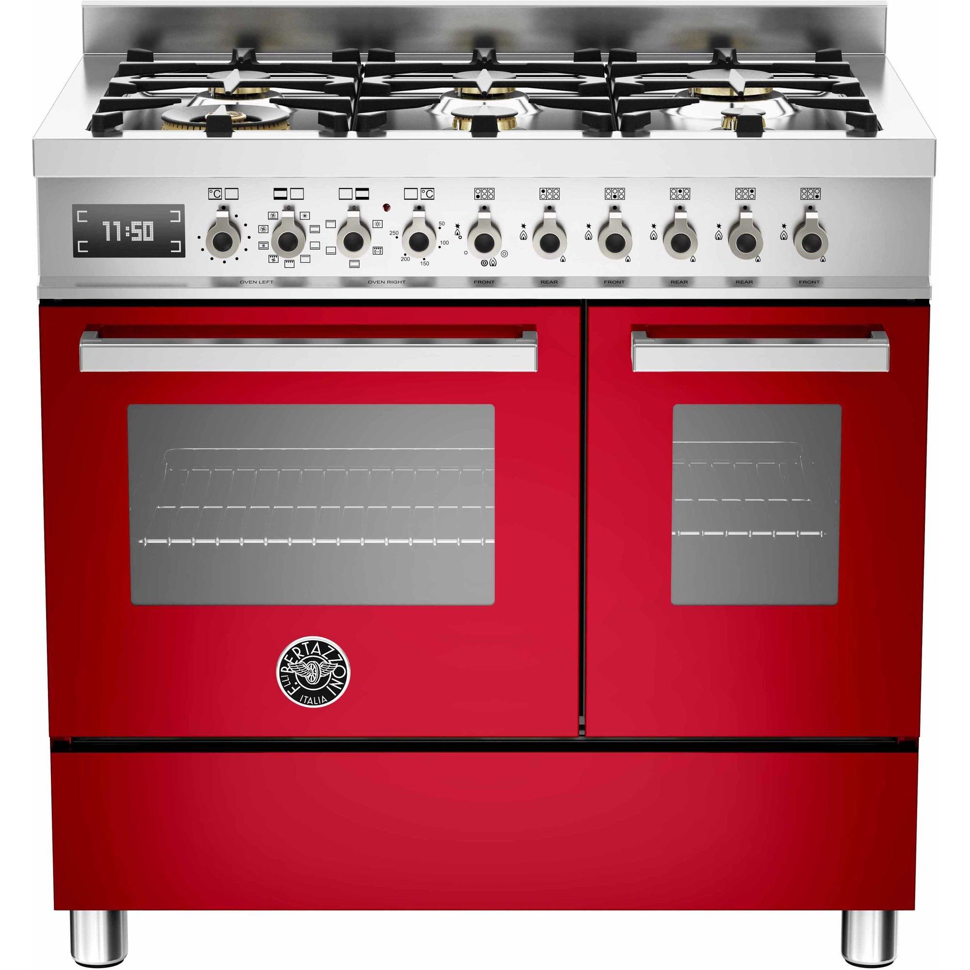 Bertazzoni PRO906 Gasspis 90 cm 2 ugnar 6 brännare Röd