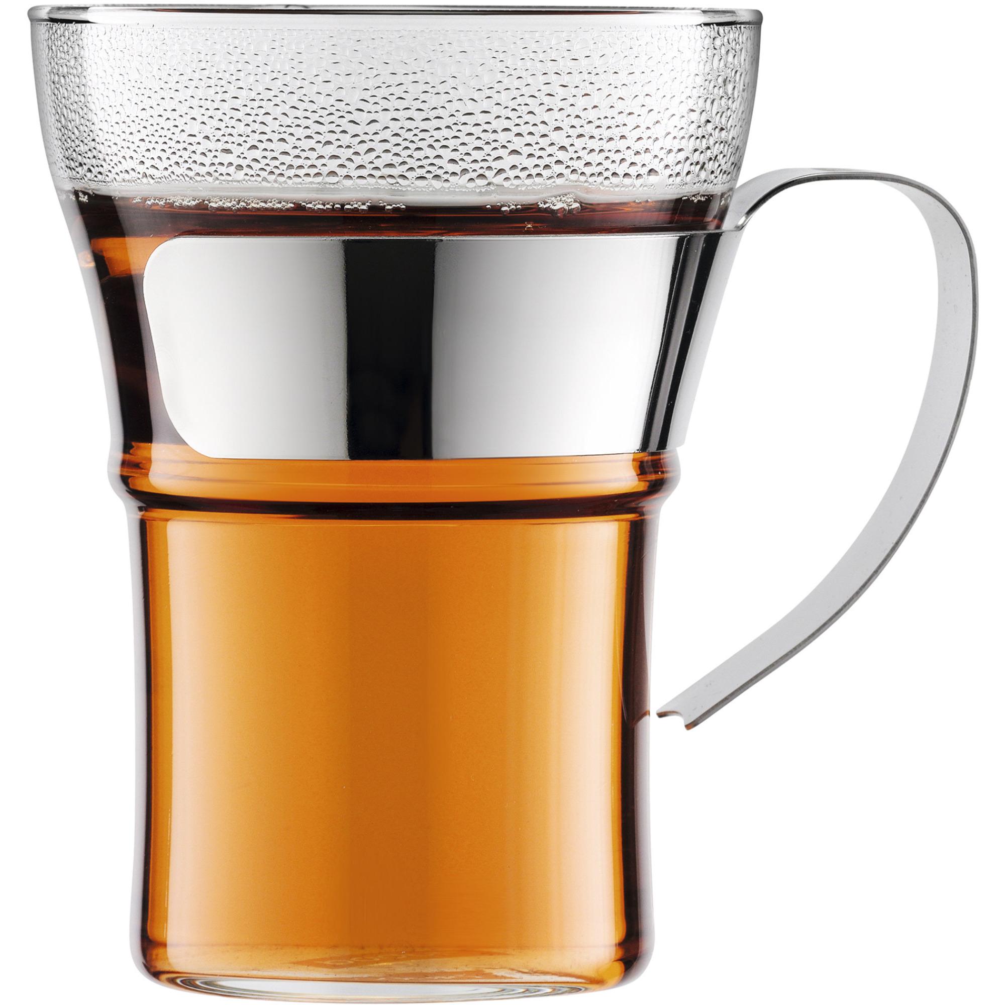 Bodum ASSAM Kaffeglas med krom handtag 2 st. – 035 l