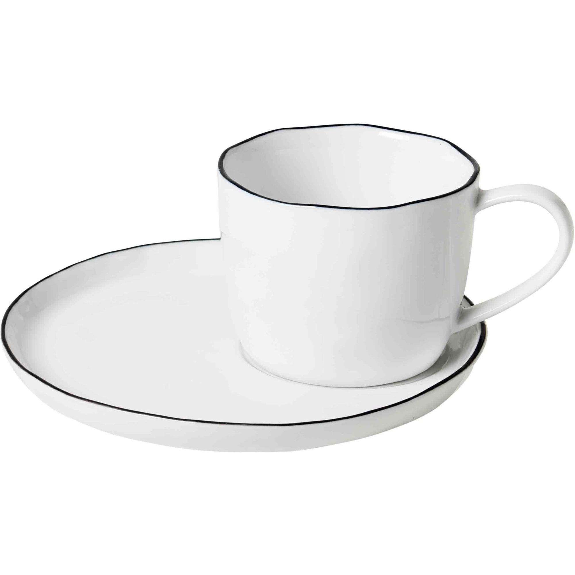 Broste Copenhagen 'Salt' handgjord kopp med fat L