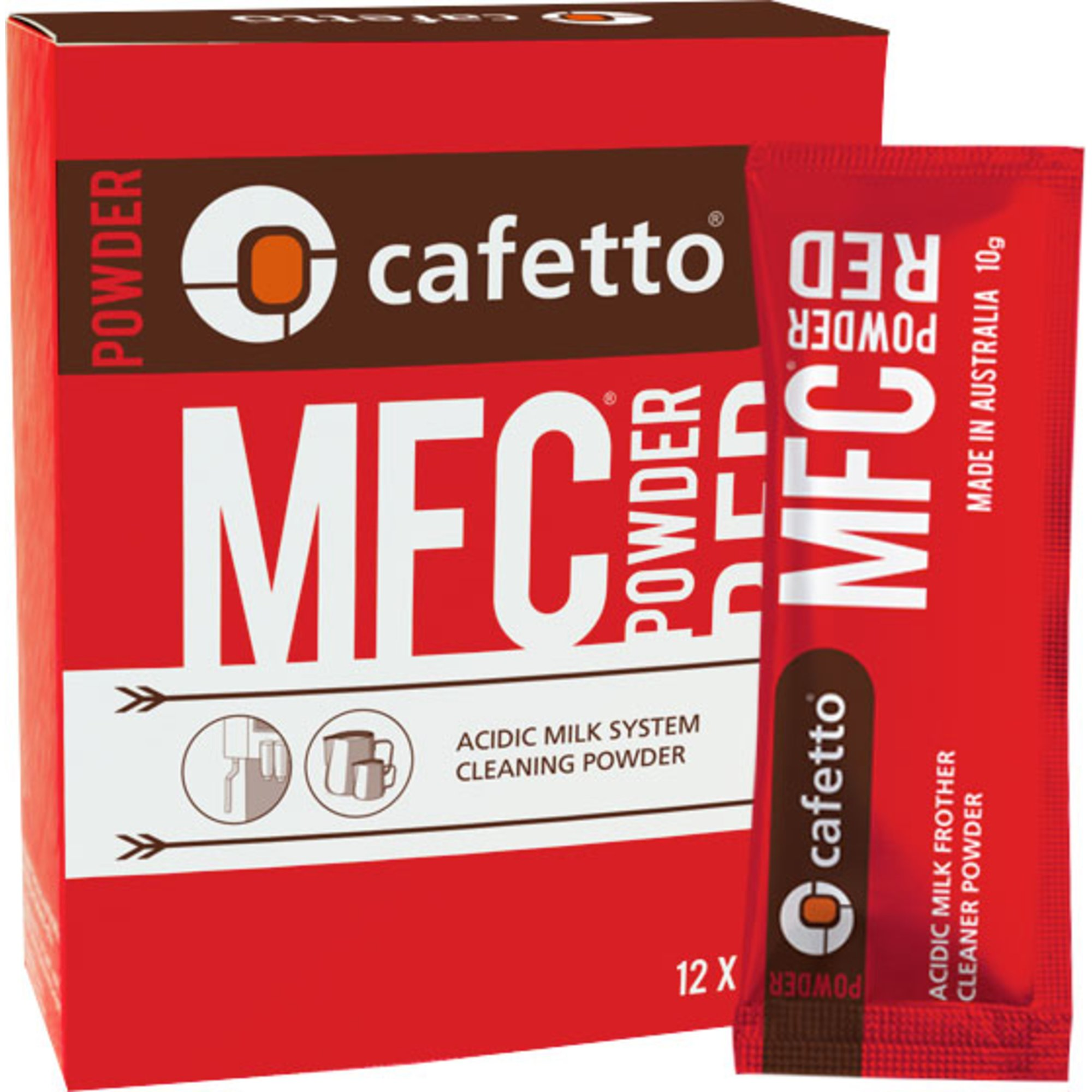 Cafetto MFC Rengöringspulver Röd 12 doseringspåsar