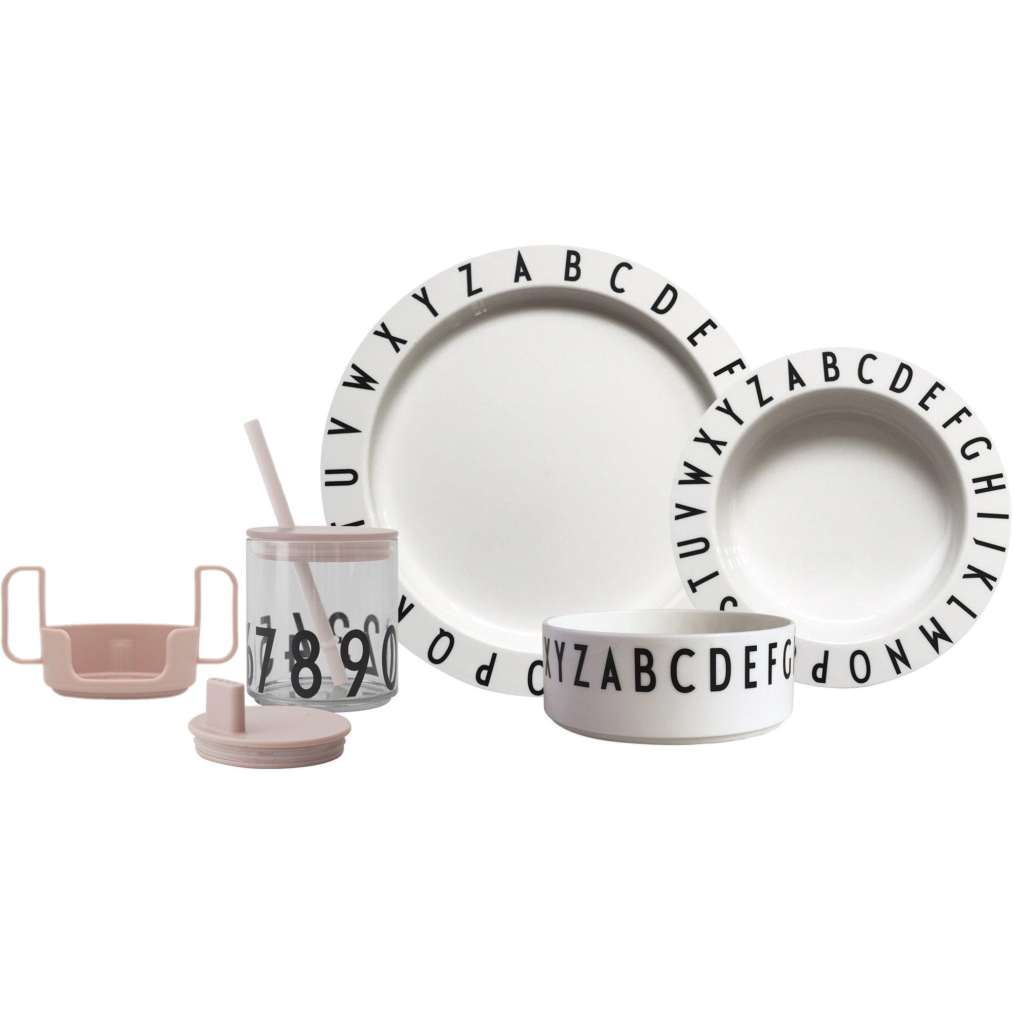 Design Letters Eat & Learn Tritan gift box nude och vit