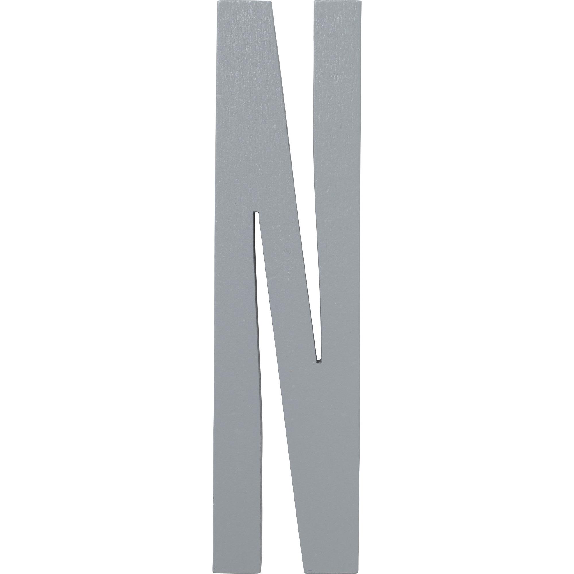 Design Letters Grå Bokstav i Trä N