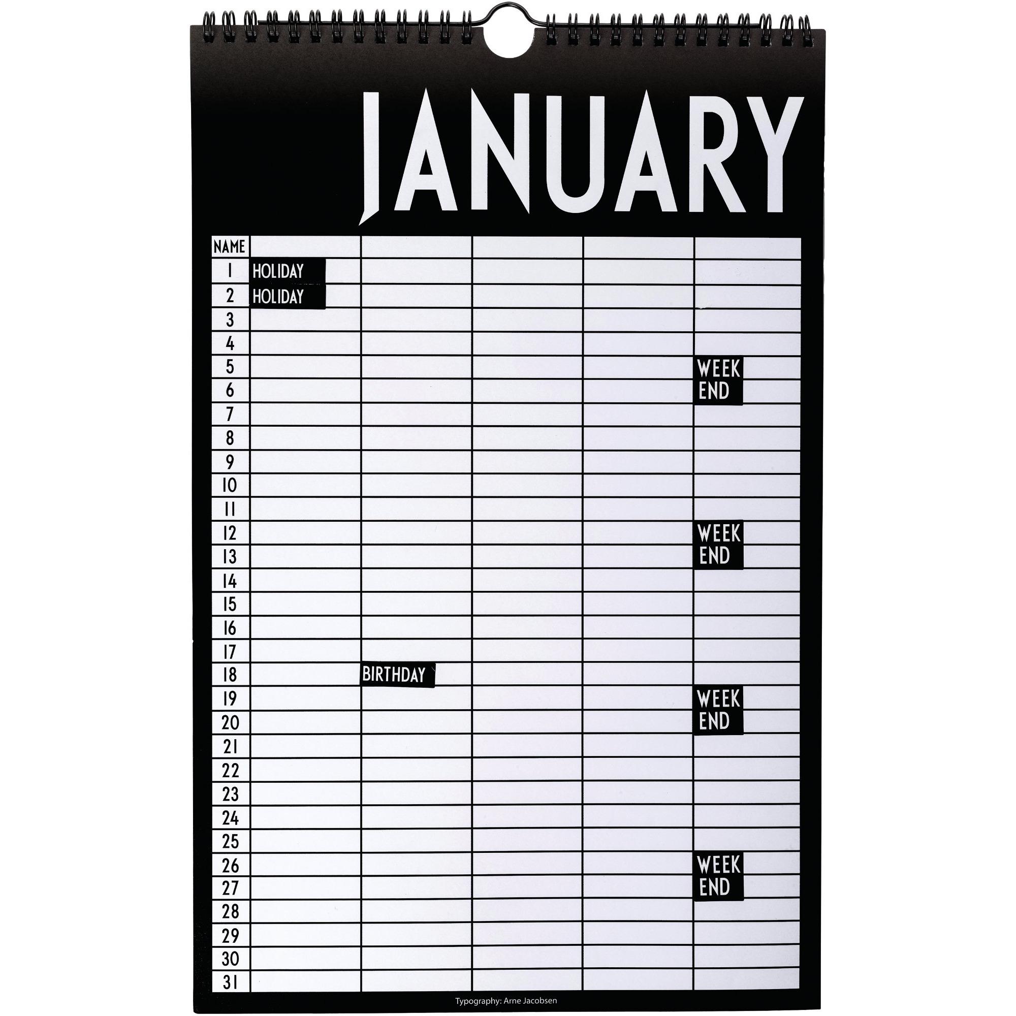 Design Letters Monthly Planner Svart