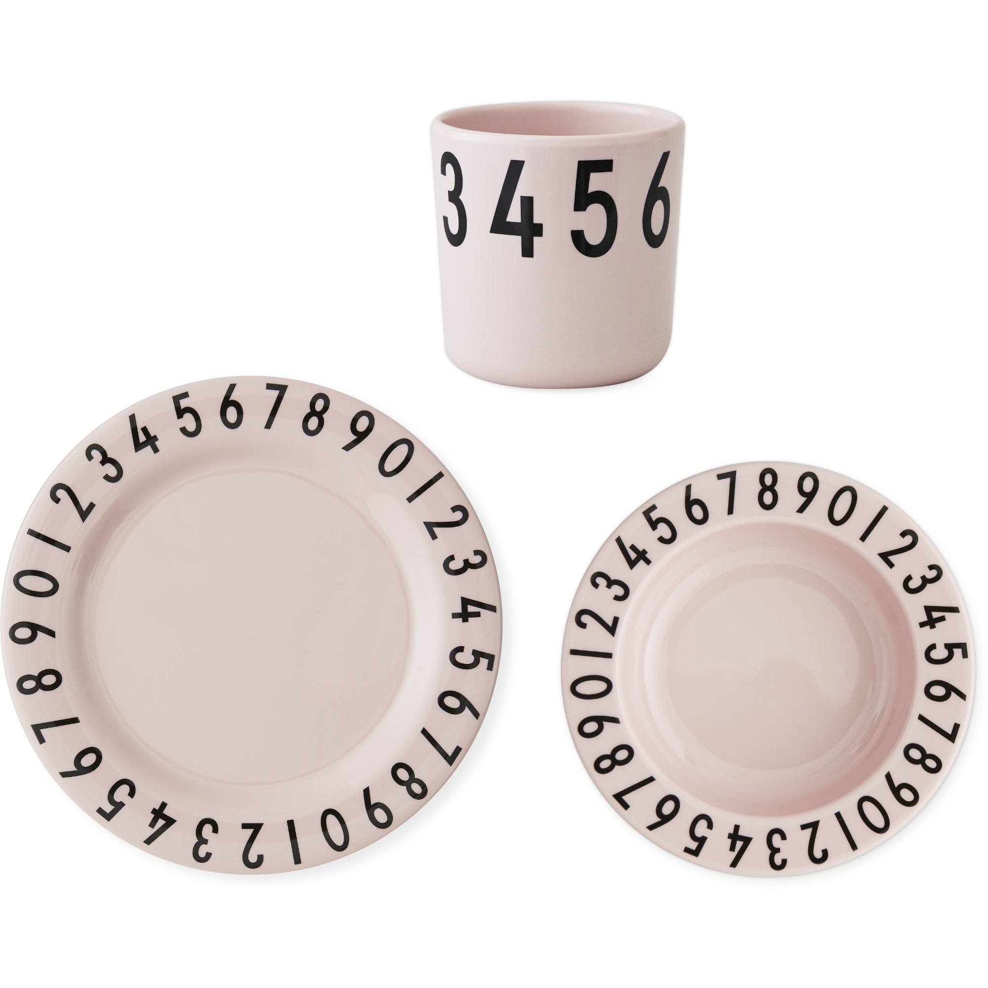 Design Letters The Numbers Barnset 3-del Rosa