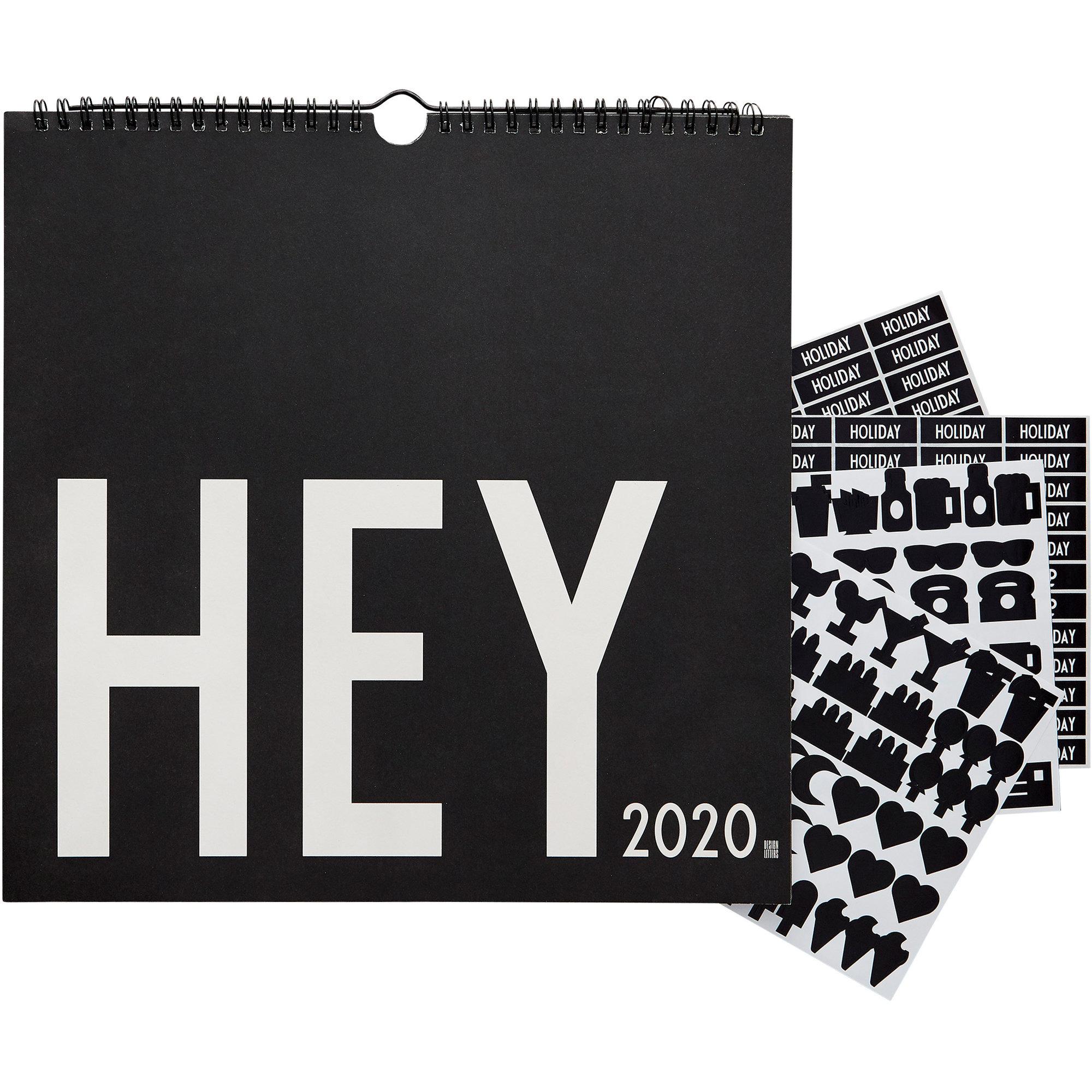 Design Letters Wall Calendar 2020 Svart