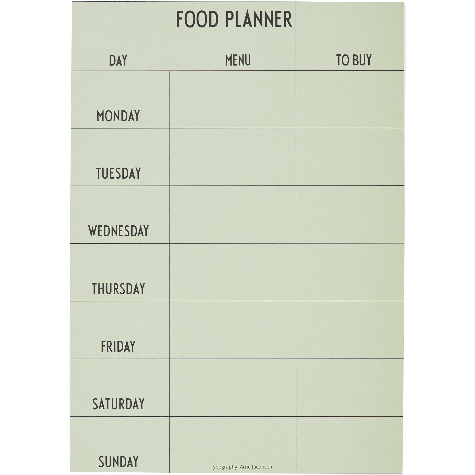 Design Letters Weekly Food Planner Grön