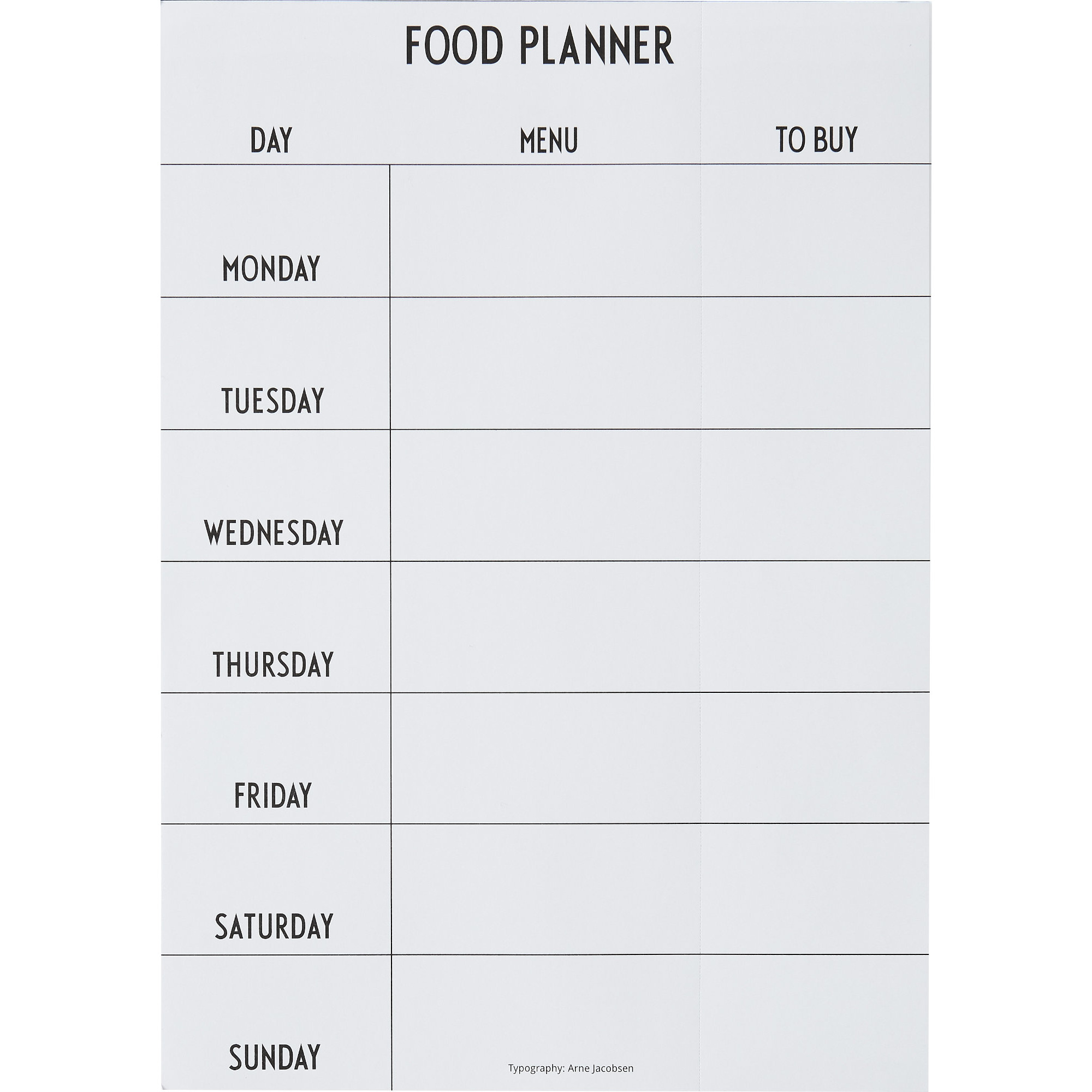 Design Letters Weekly Food Planner Svart