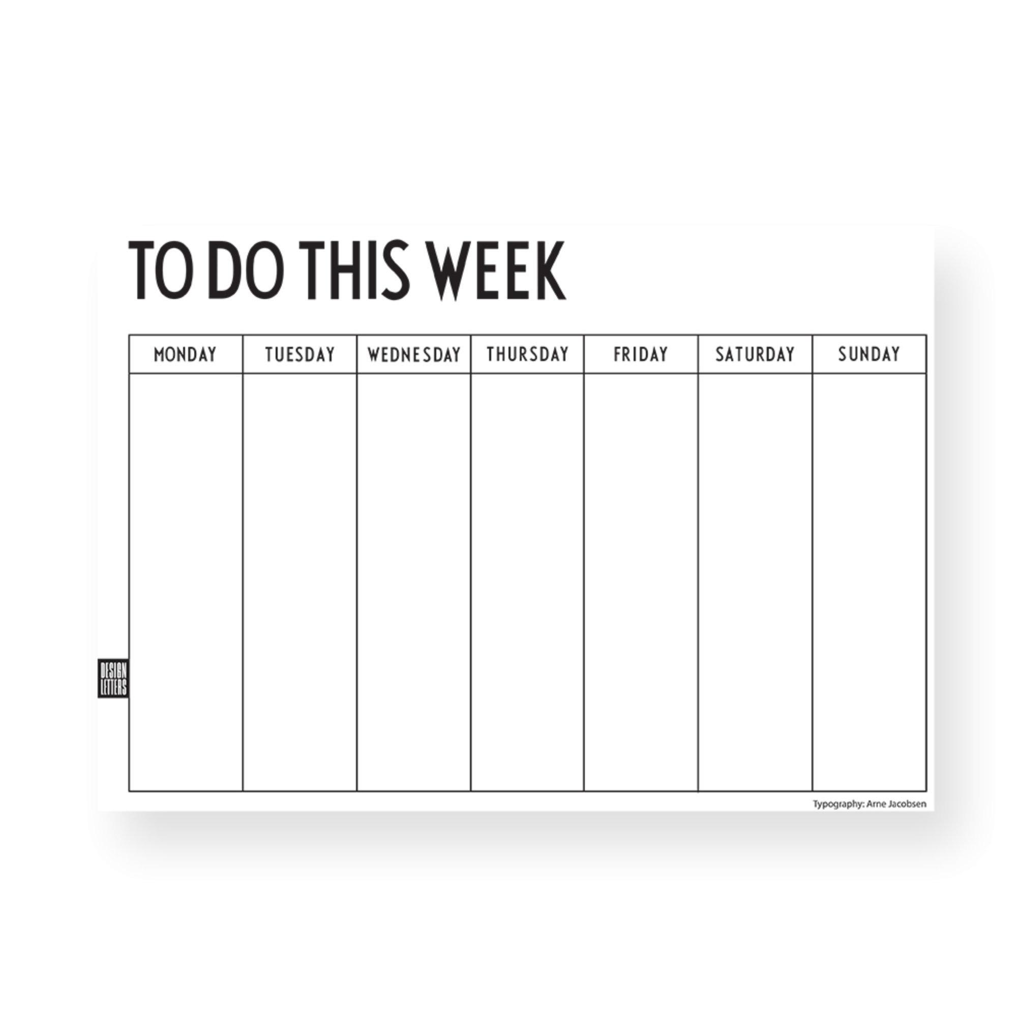 Design Letters Weekly Planner Svart