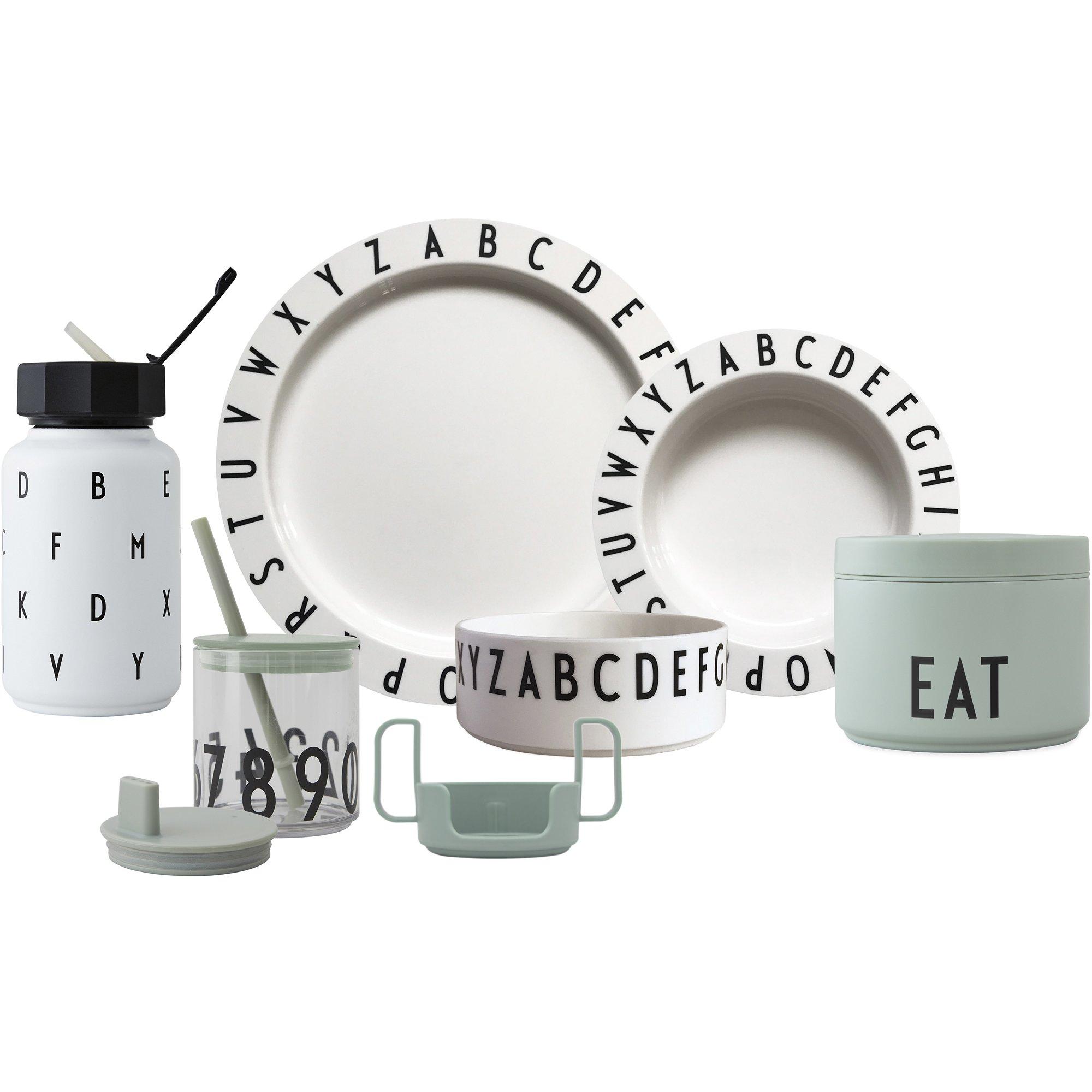 Design Letters Eat & Learn Tritan gift box pre grön och vit