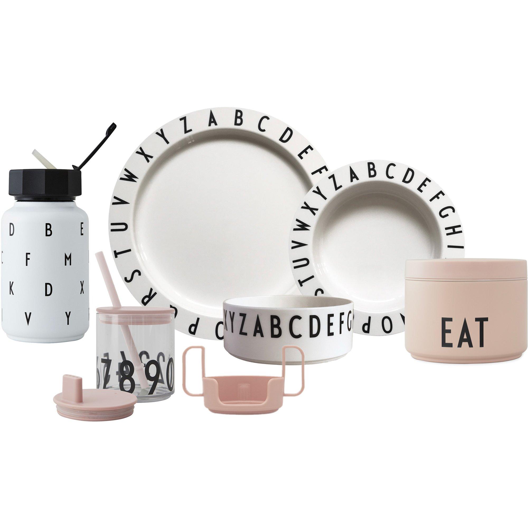 Design Letters Eat & Learn Tritan gift box pre nude och vit