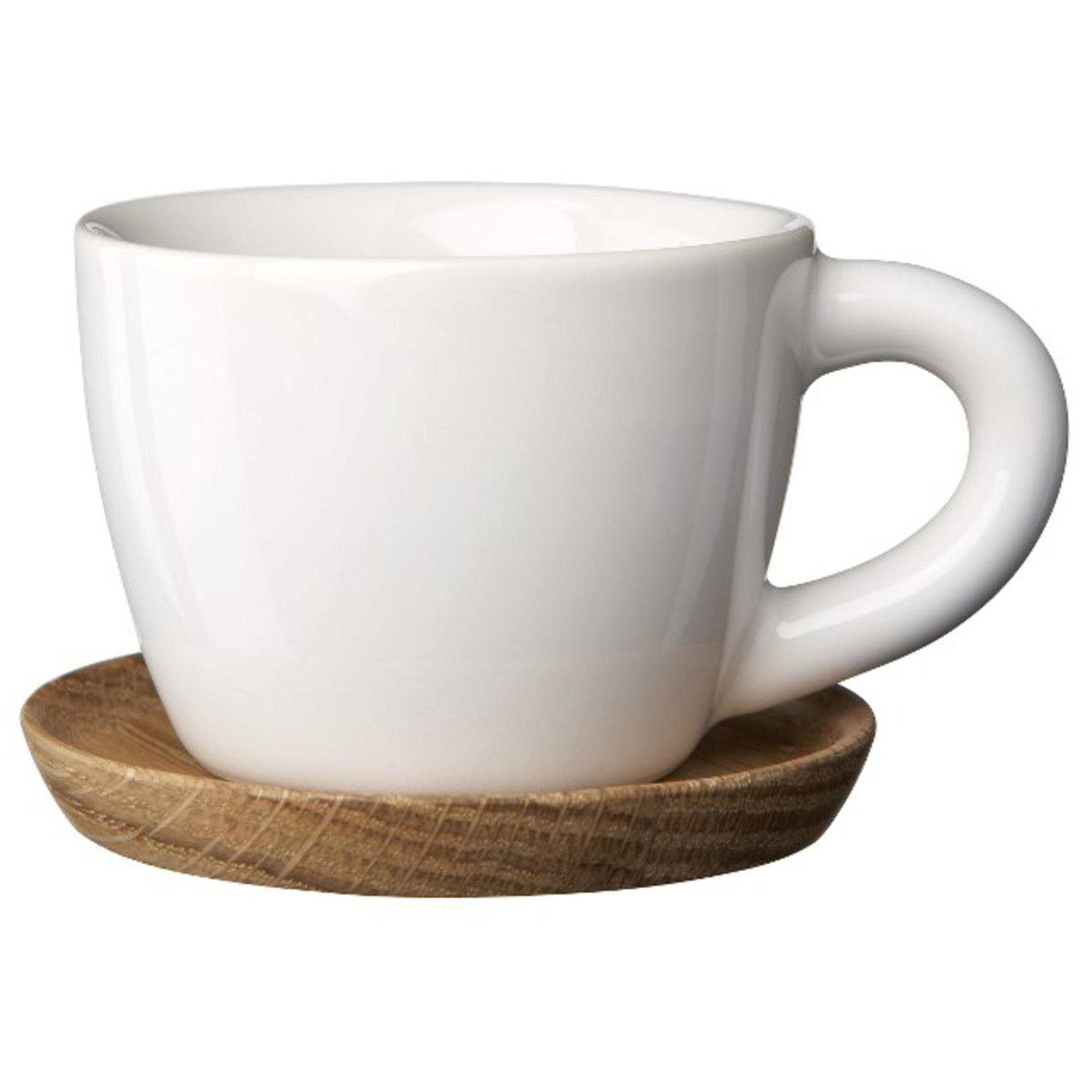 Höganäs Keramik Espressokopp 10 cl med Träfat Vitblank