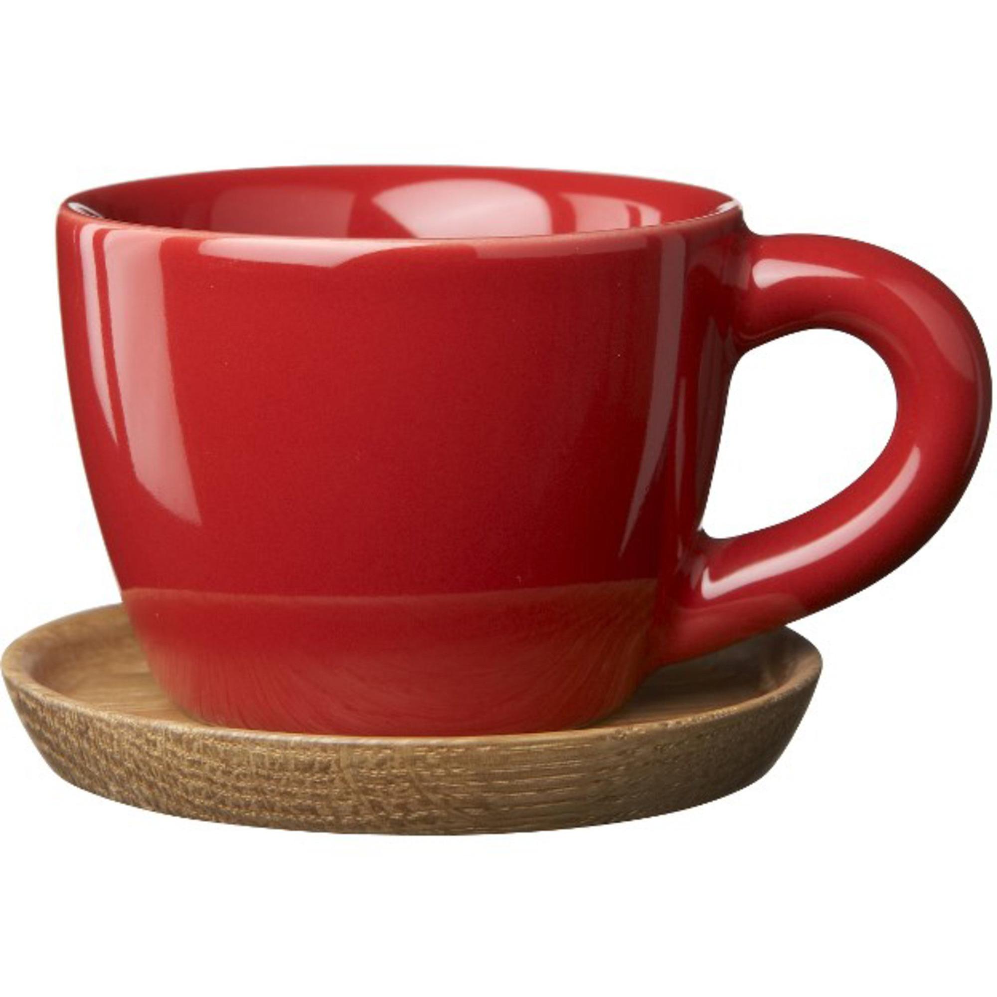 Höganäs Keramik Espressokopp 10 cl med TräfatÄppelröd blank