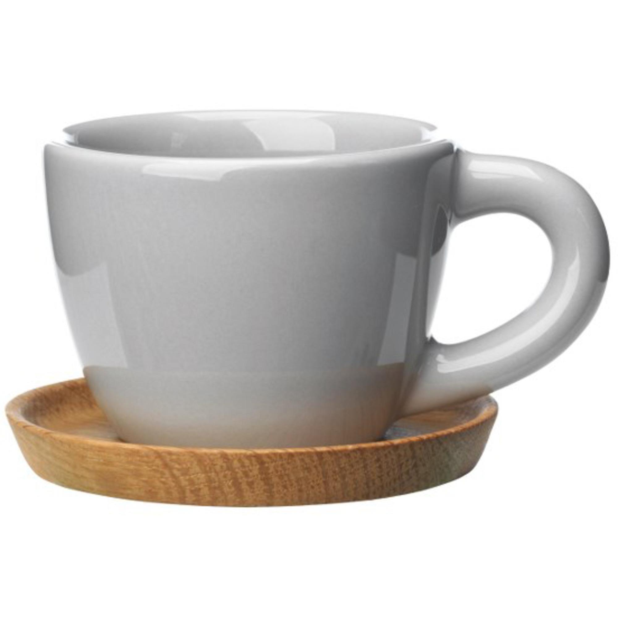 Höganäs Keramik Espressokopp 10 cl med Träfatkiselgrå blank