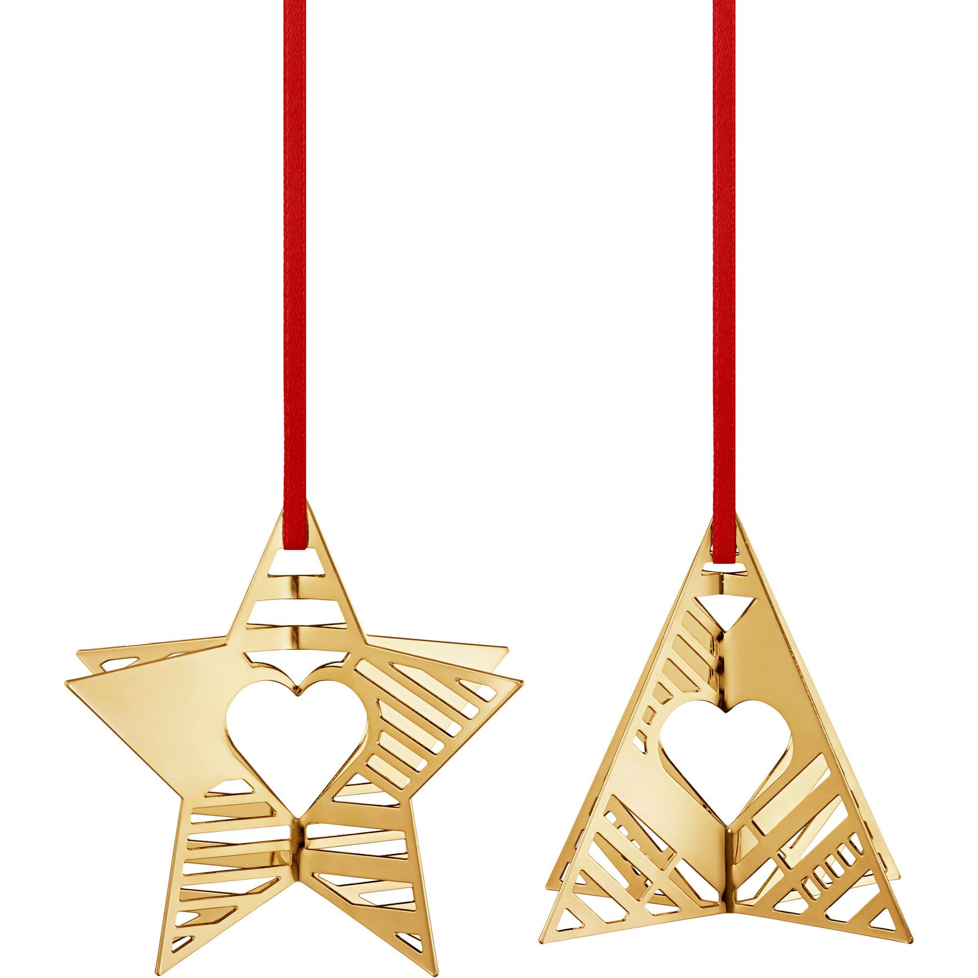 Georg Jensen 2019 Holiday Ornament, Stjärna och Julgran, Guld