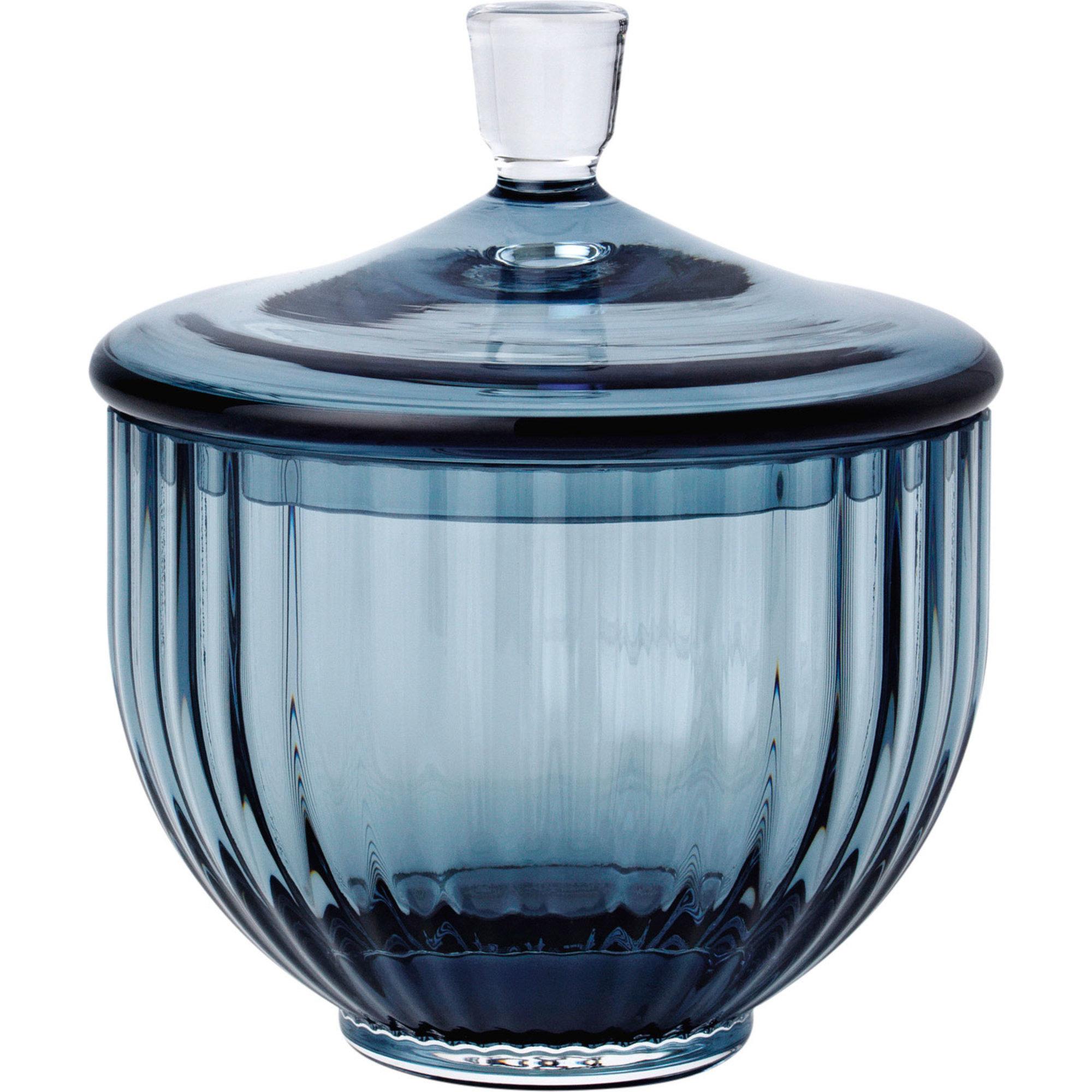 Lyngby Porcelæn Glas bonbonniere Ø 10 cm. blå