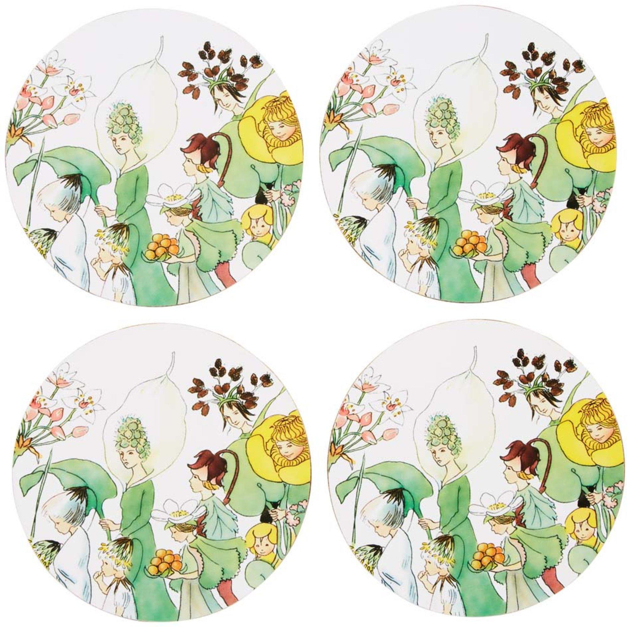 Elsa Beskow Glasunderlägg 4 pack Tryck med kork Blomsterparaden
