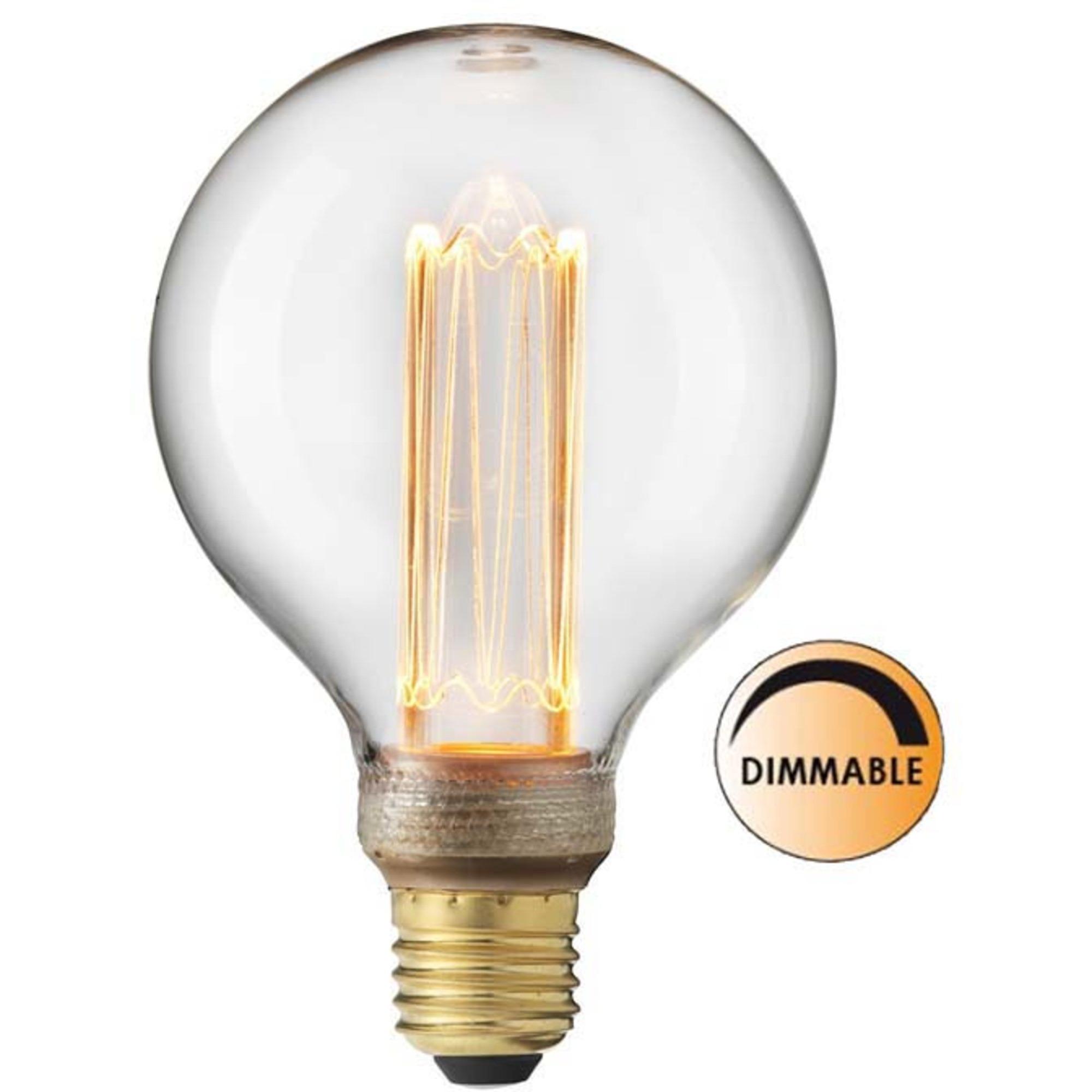 Globen Lighting Ljuskälla Laser LED Filament Klar Glob 95 mm E27
