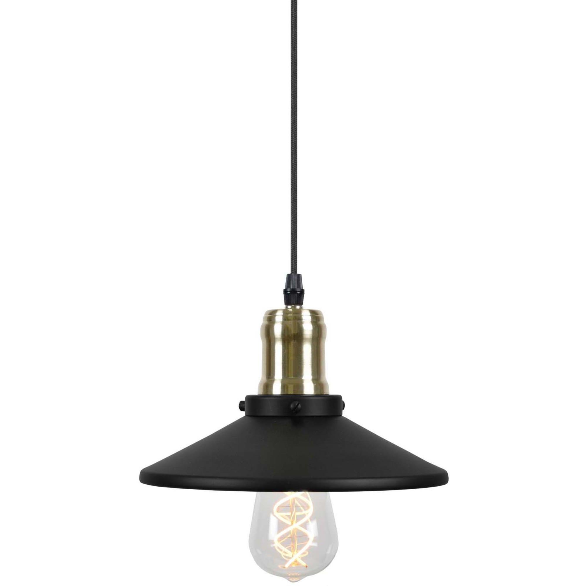 Globen Lighting Pendel Disc Mini Mattsvart / Borstad Mässing