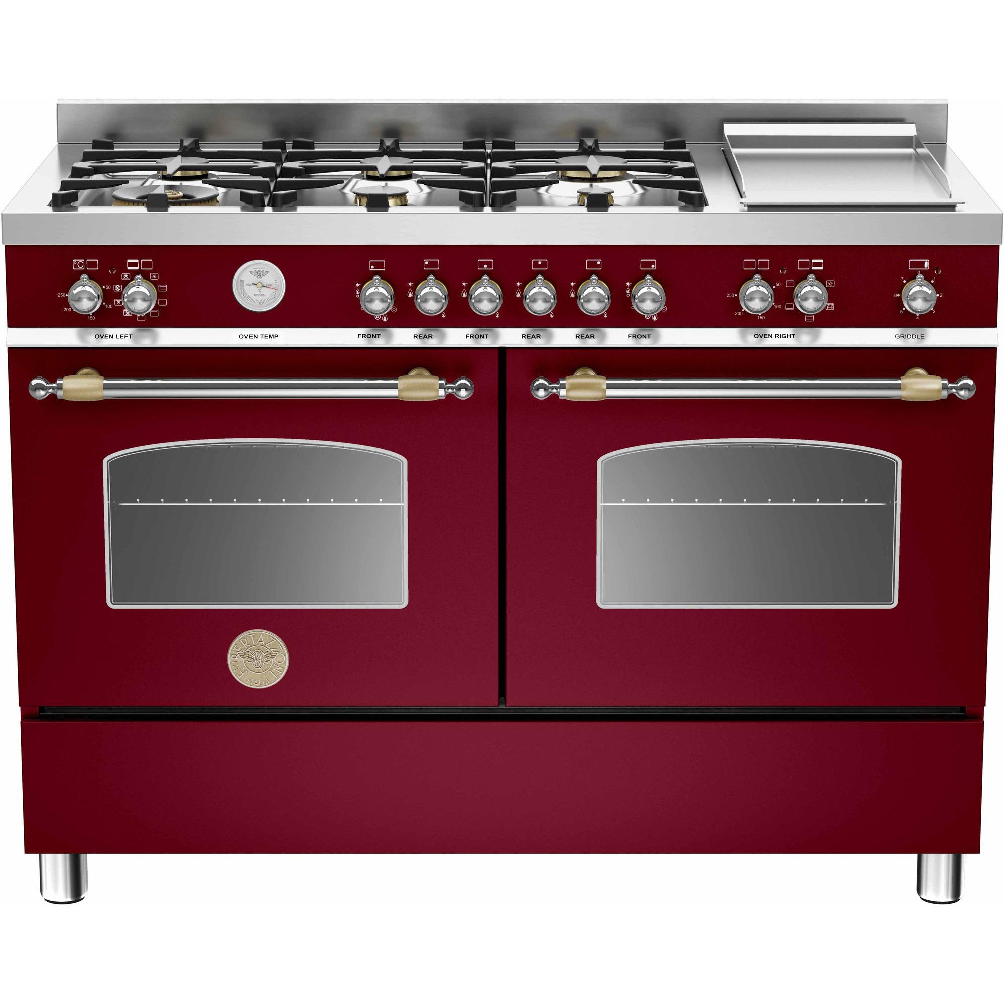 Bertazzoni HER1206 Gasspis 120 cm 2 ugnar 6 brännare + elektrisk tepanyaki Vinröd