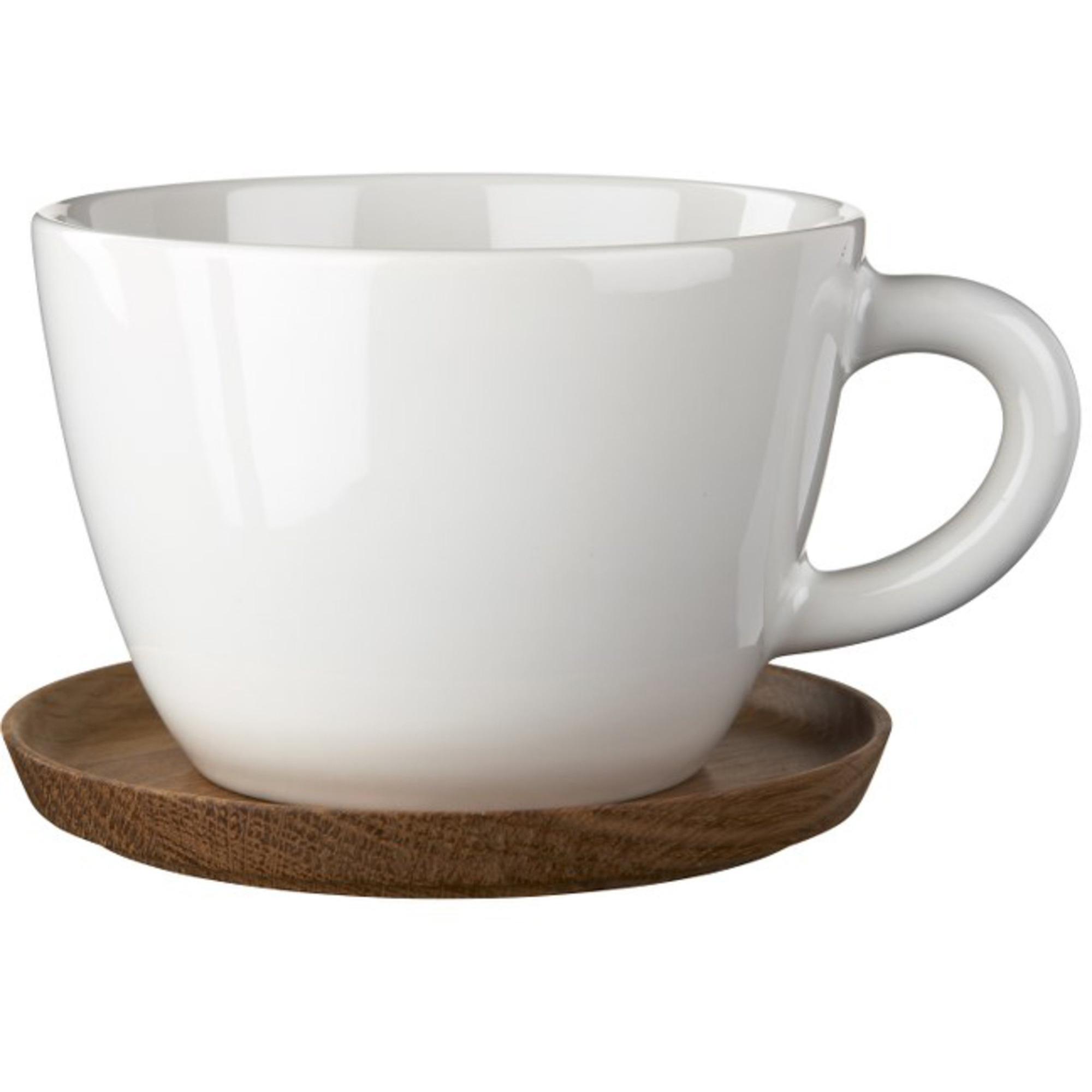 Höganäs Keramik Temugg 50 cl med Träfat Vit blank