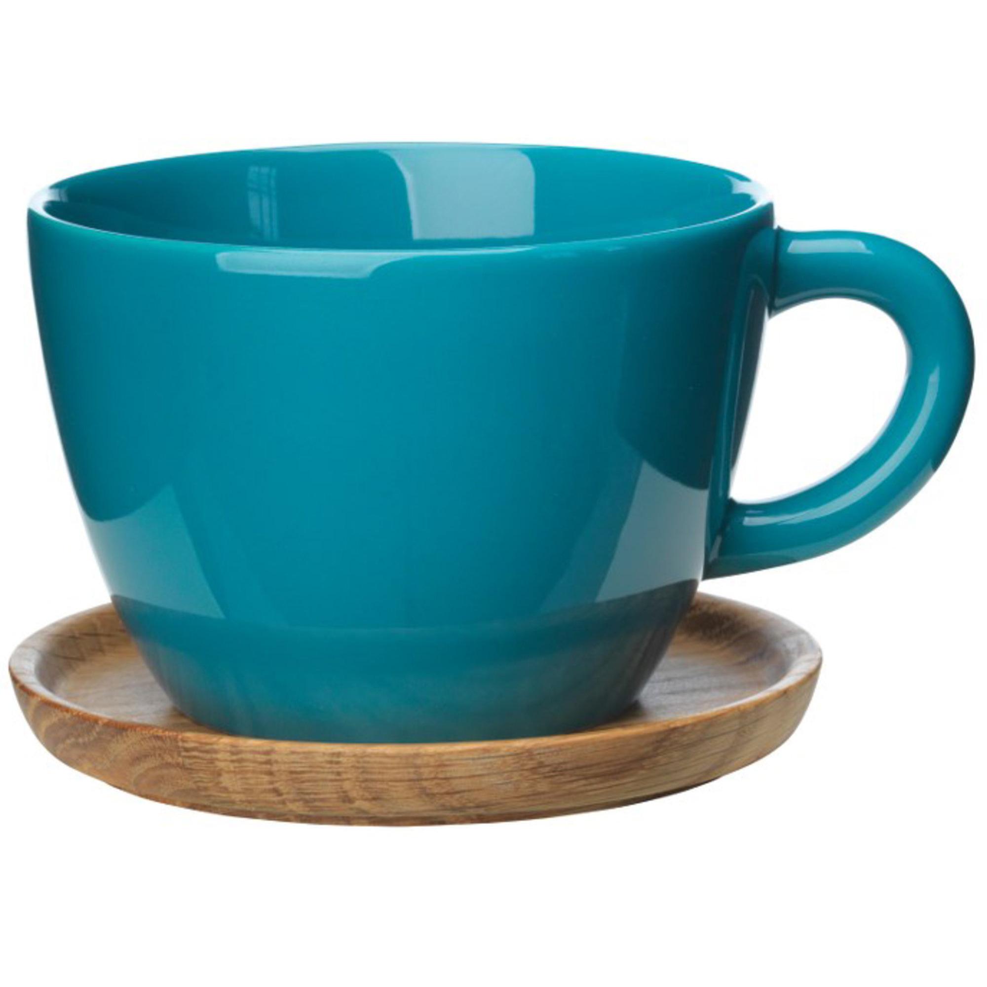 Höganäs Keramik Temugg 50 cl med Träfat Sjögrönblank