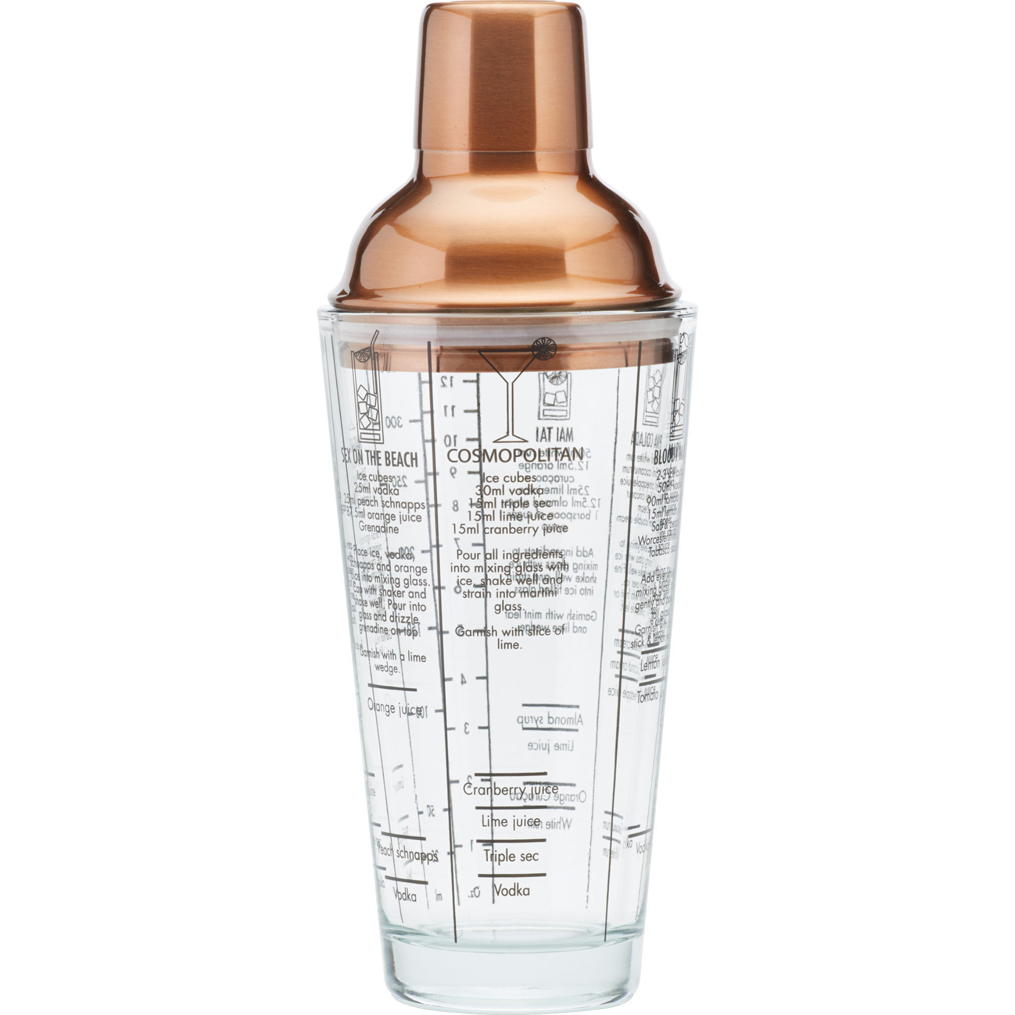 Kitchen Craft Boston Cocktail Shaker Glas och koppar 650 ml