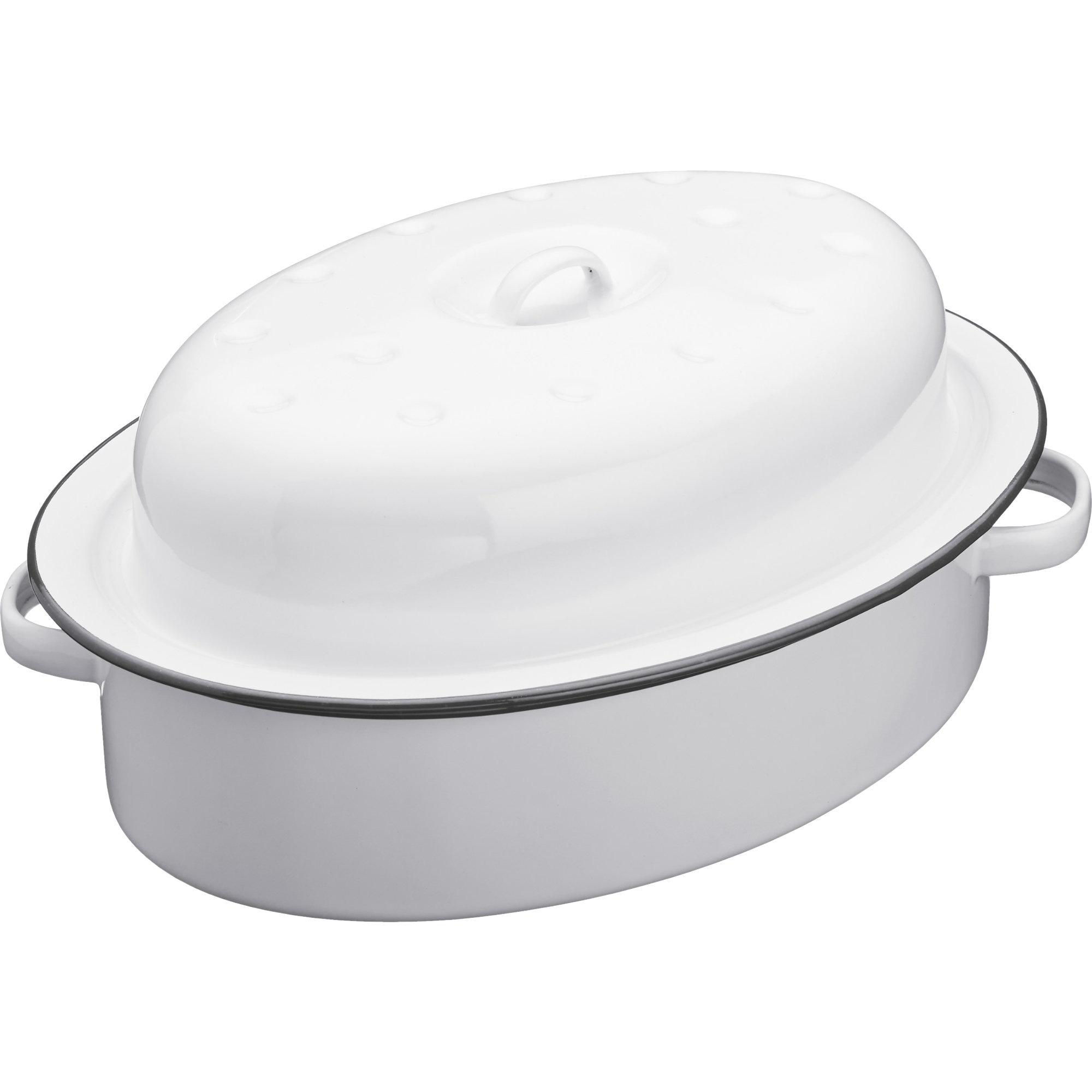 Kitchen Craft Emaljgryta Oval med lock - Vit/grå 30cm