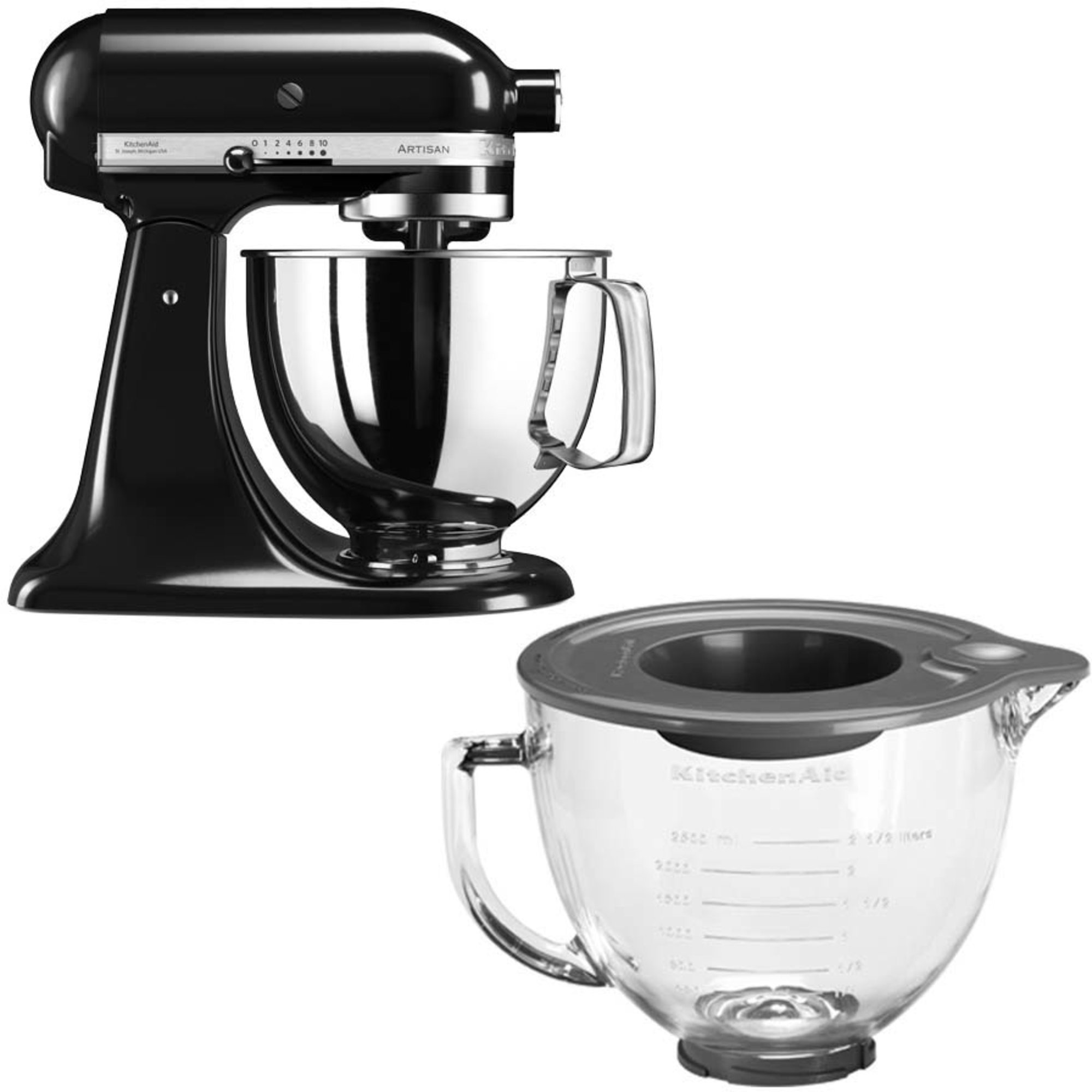 KitchenAid Artisan 125 Svart + Glasskål 5KGB