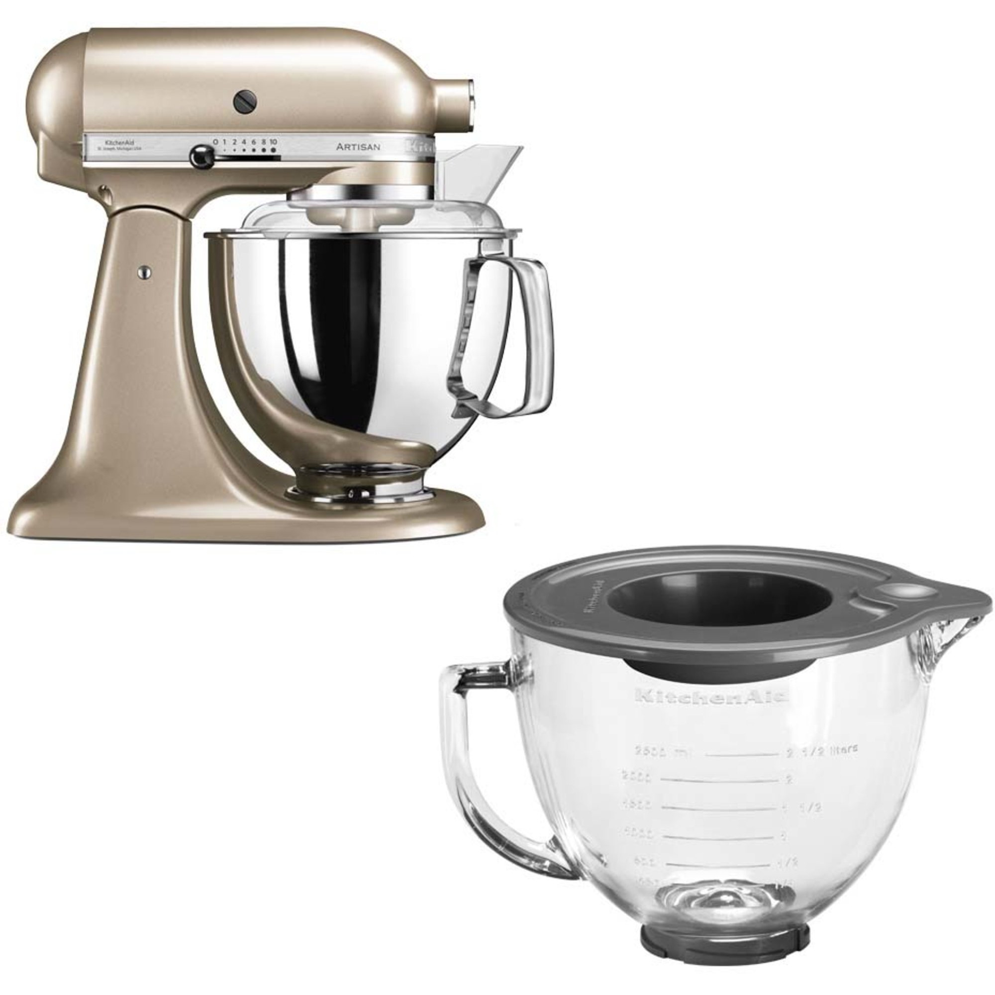 KitchenAid Artisan 175 Golden Nectar + Glasskål 5KGB