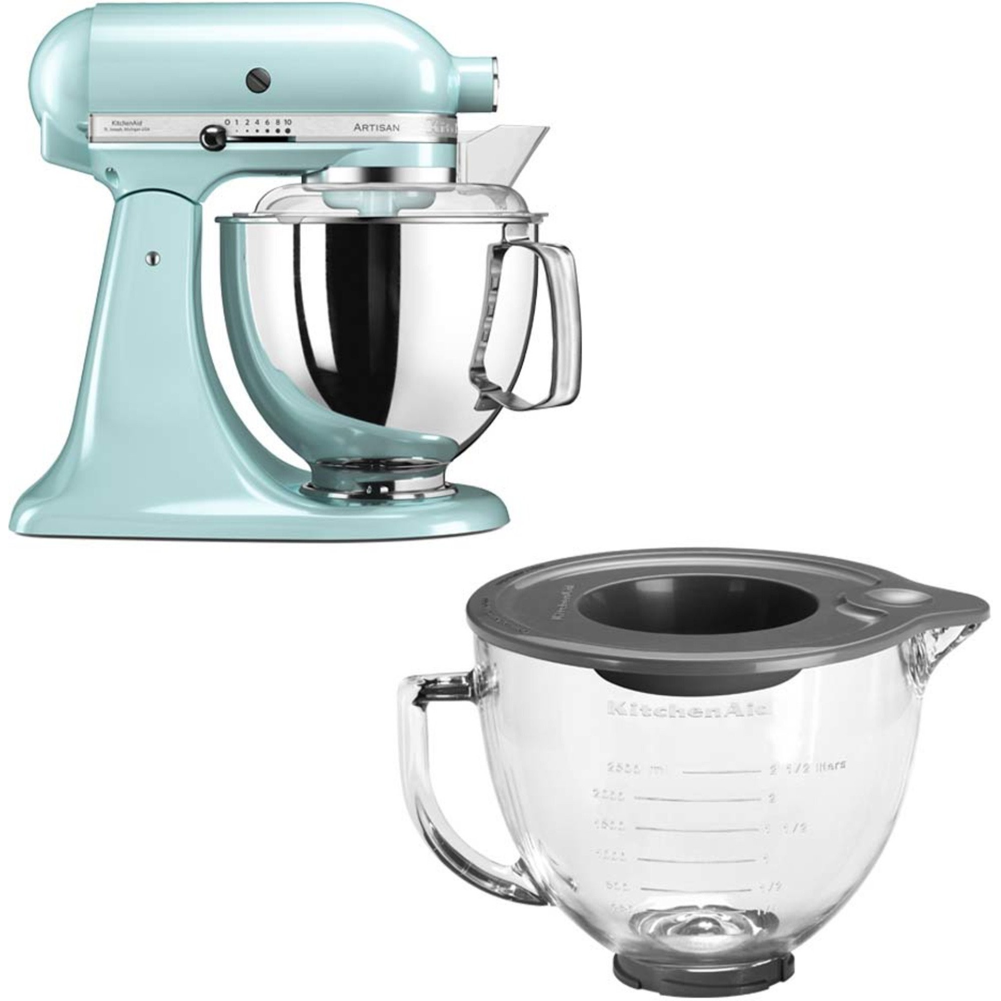 KitchenAid Artisan 175 Iceblue/Mint + Glasskål 5KGB