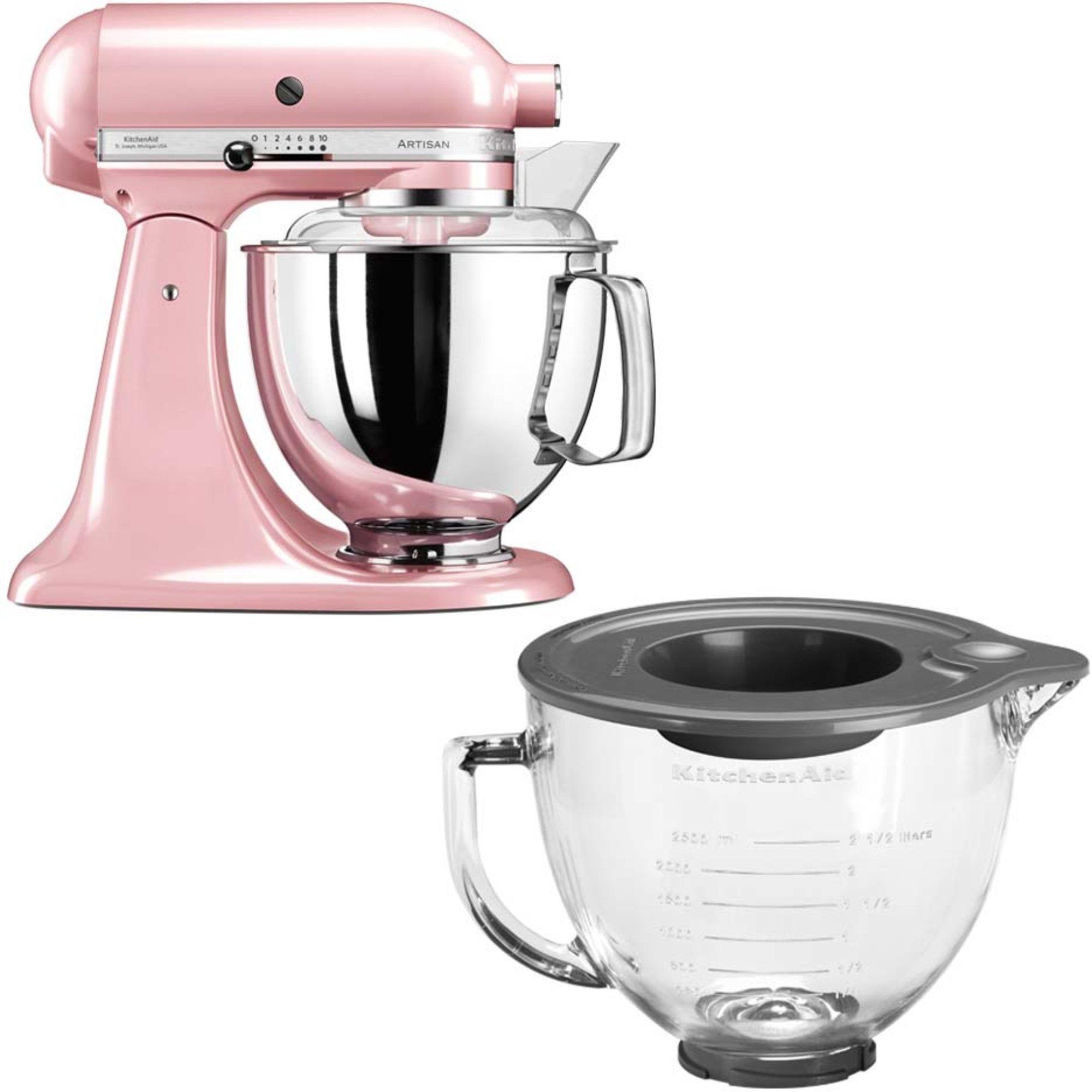 KitchenAid Artisan 175 Silky Pink + Glasskål 5KGB