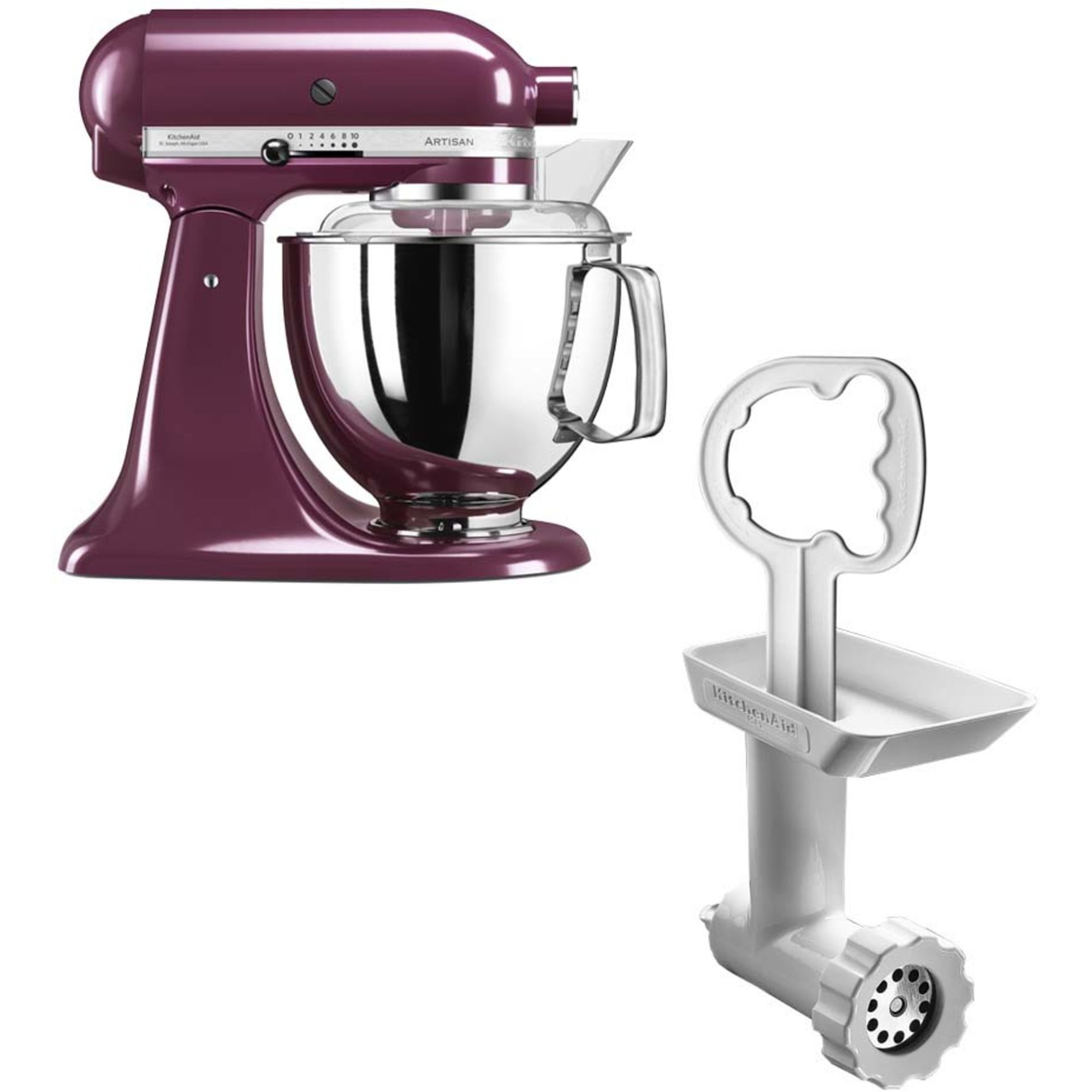 KitchenAid Artisan 175 Boysenberry + Köttkvarn FGA