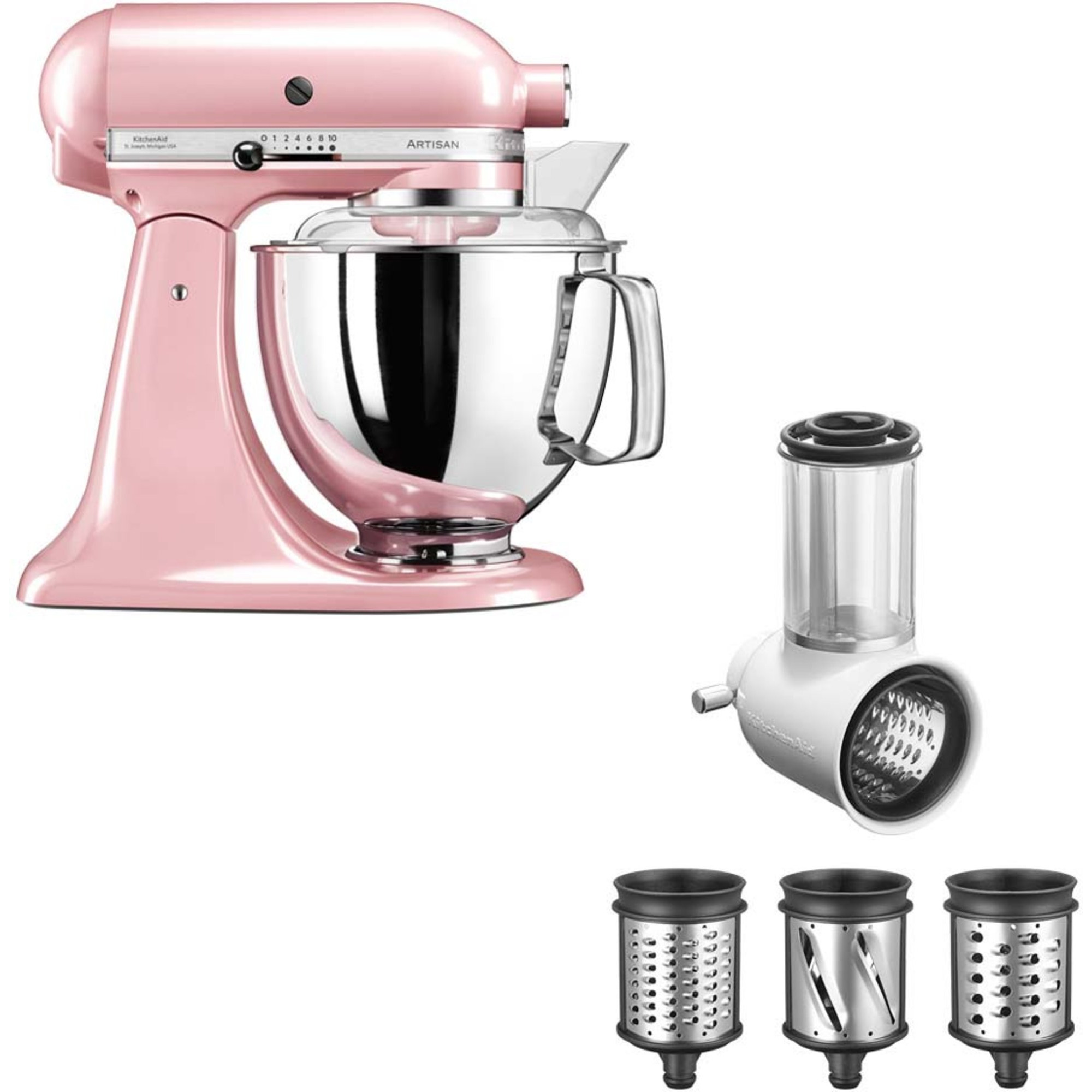 KitchenAid Artisan 175 Silky Pink + Grönsaksskärare 5KSMVSA